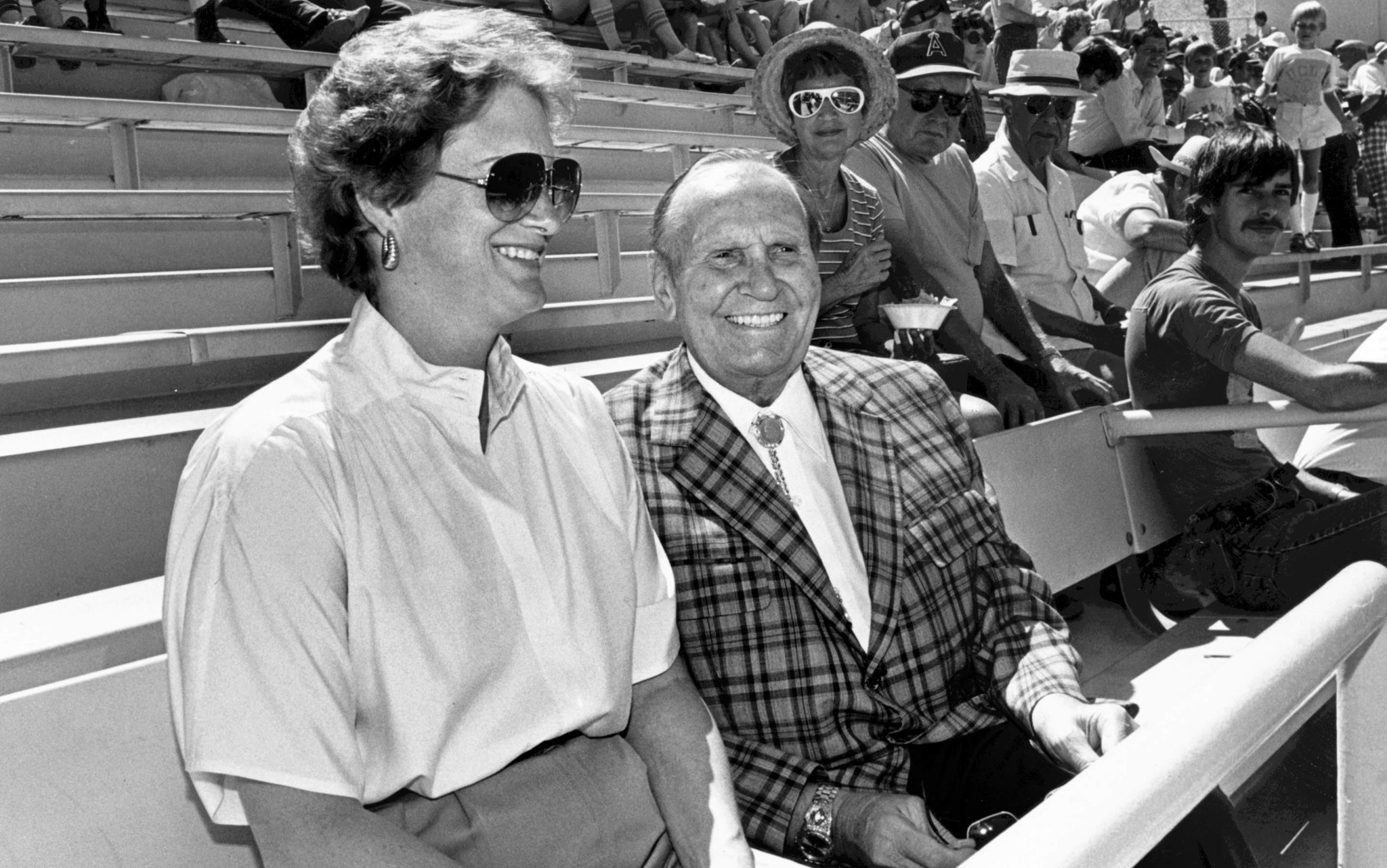 March 1984: Gene Autry takes his place in the owner's box alongside his wife, Jackie, executive vice