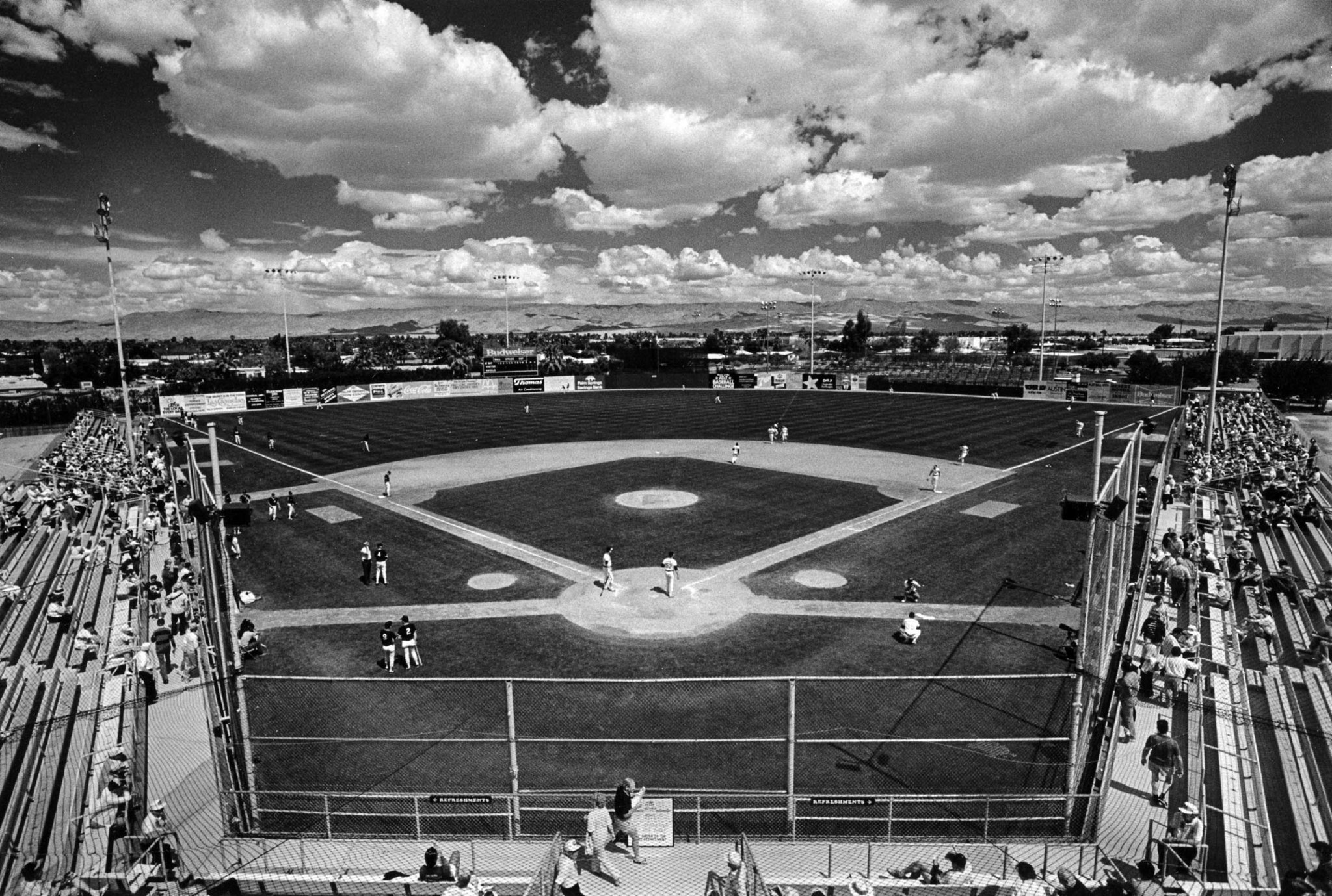 March 25, 1987: Angel Stadium in Palm Springs from the upper press box. This photo was published in