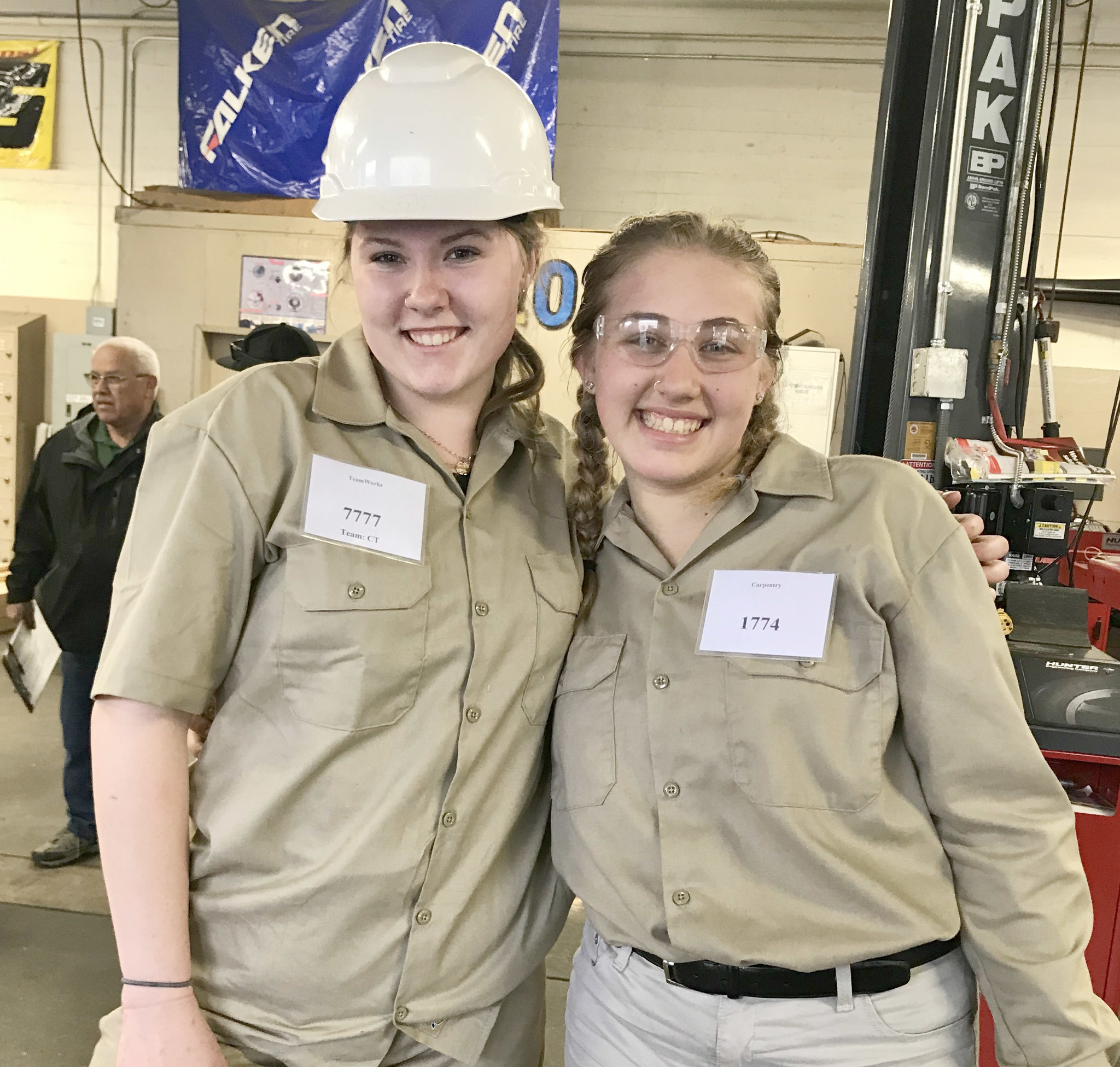 Elora Hitt, left, and Zoey Falls are among Montecito High School construction students who are competing in SkillsUSA trades competitions.