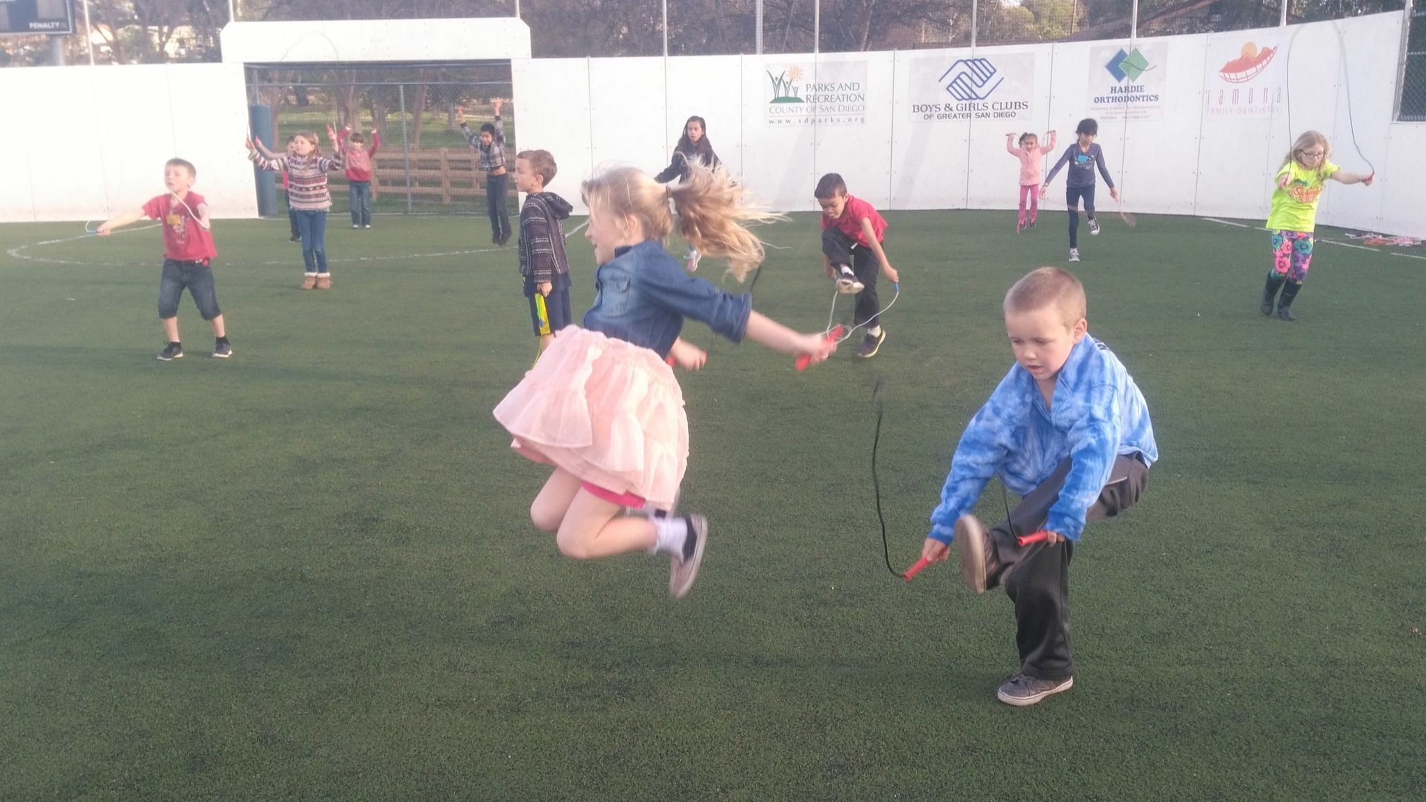 Averee Jones, 8, left, and Adam Storrs, 5, jump rope during the Ramona Boys & Girls Club's Little Jumps Big Changes fundraising celebrations.