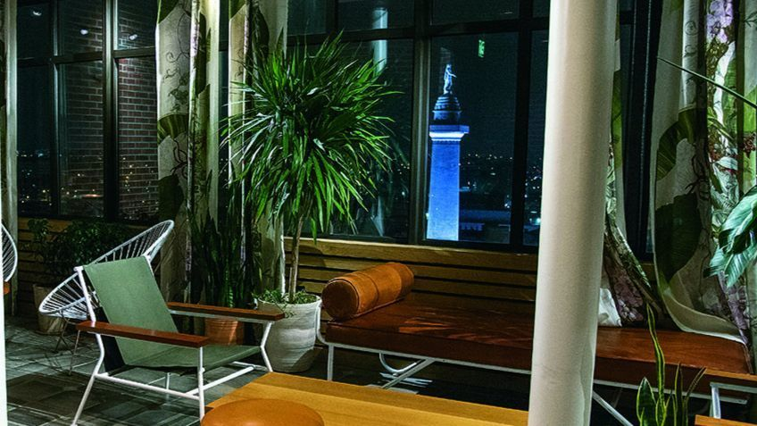 The Garden Room at Topside, the bar at the top level of Hotel Revival in Mount Vernon.