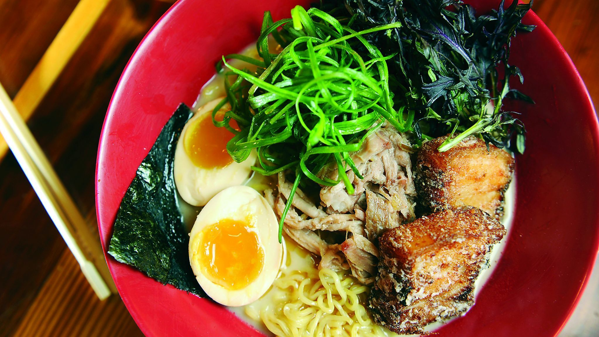 03/31/15 -- Baltimore, MD -- Tonkotsu ramen at Ejji Ramen includes pork broth with char su pulled