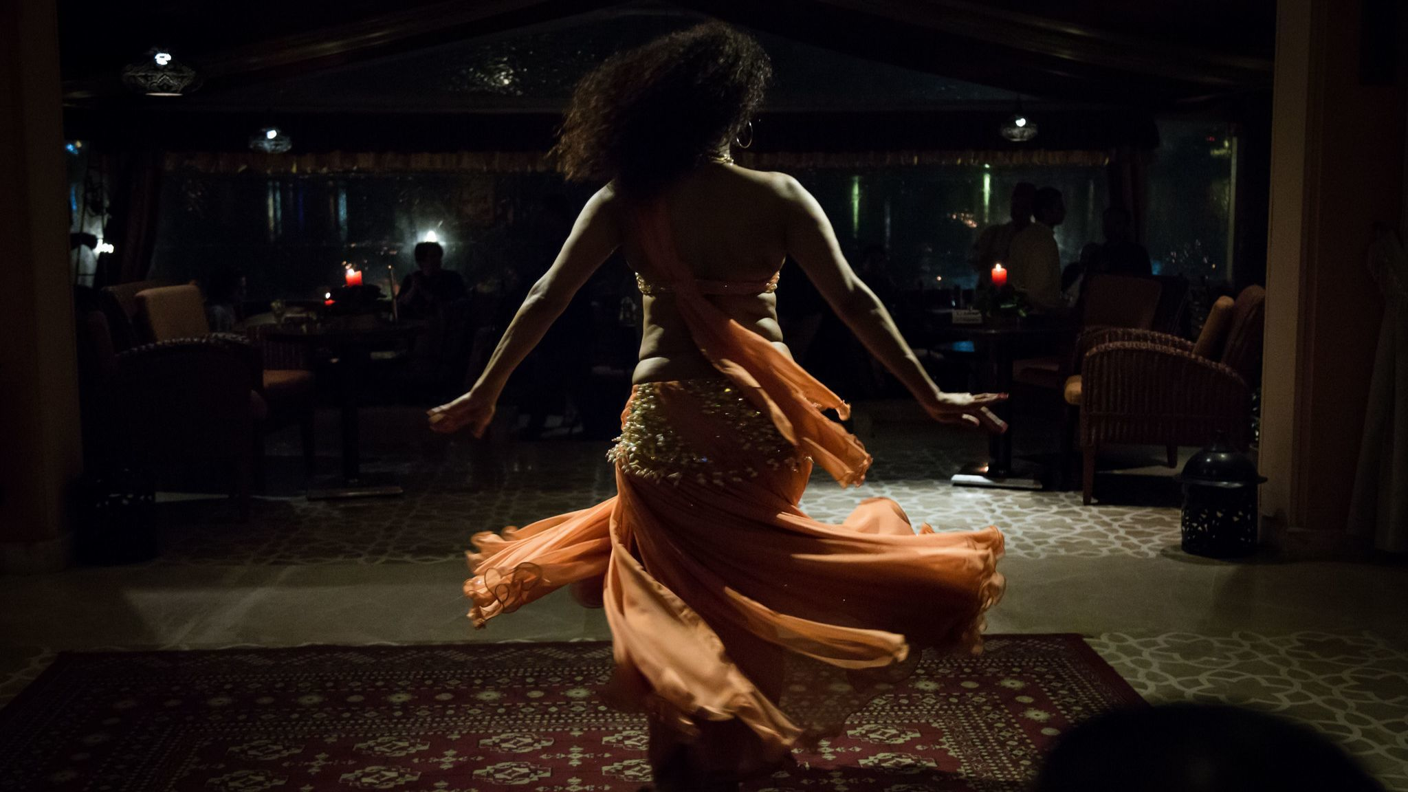 Belly dancer Nesma performs for tourists and guests at a high-end hotel in Cairo, Egypt, December 25