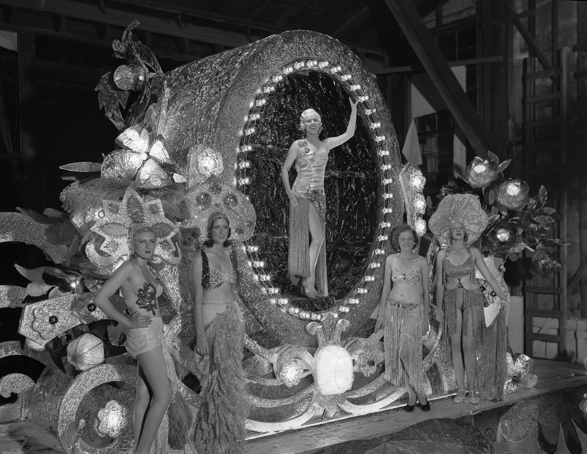 "Sep. 24, 1932: ""Cameo of Jewels"" float from Max Factor at the Electrical Parade and sports pageant i"