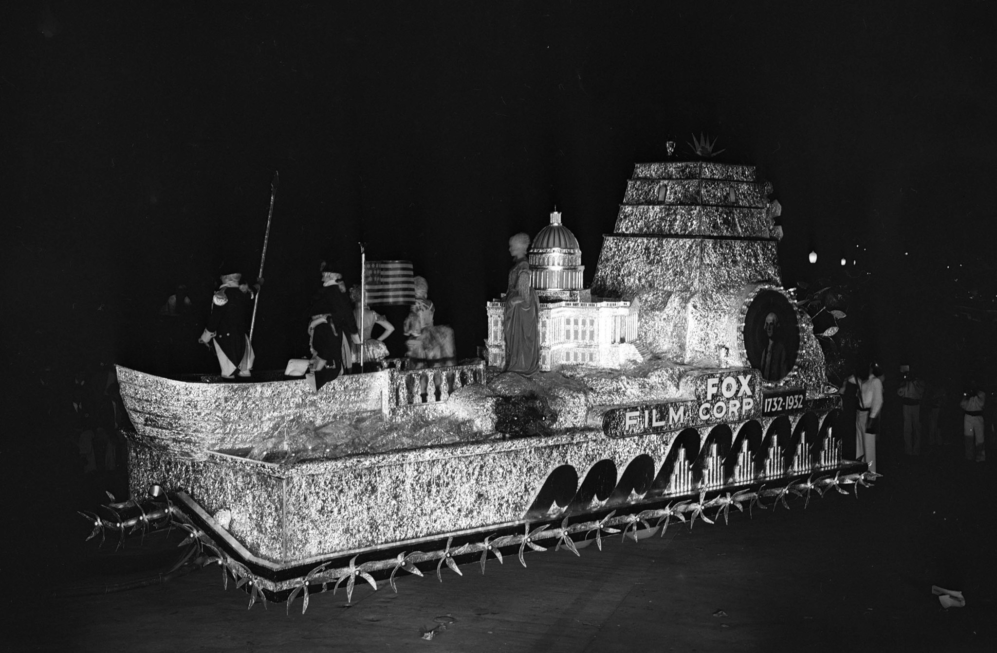 "Sep. 24, 1932: ""Bicentennial Monument"" float from Fox Film Corporation at the Electrical Parade and"