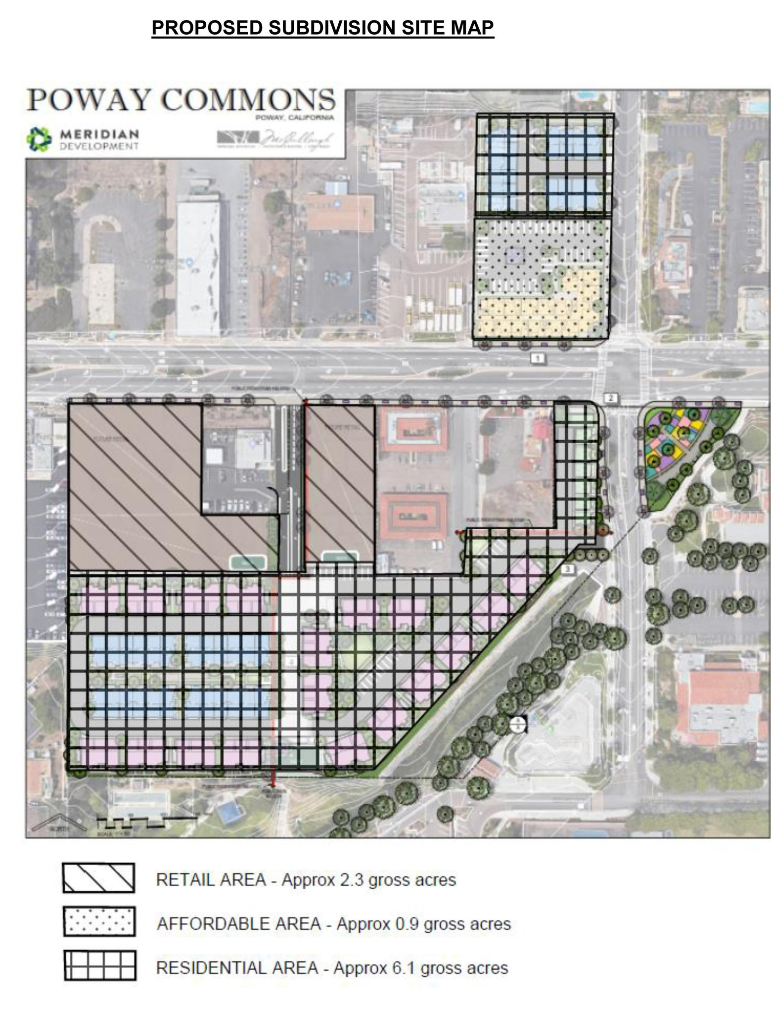 Map showing lots involved in the proposed Poway Commons development.