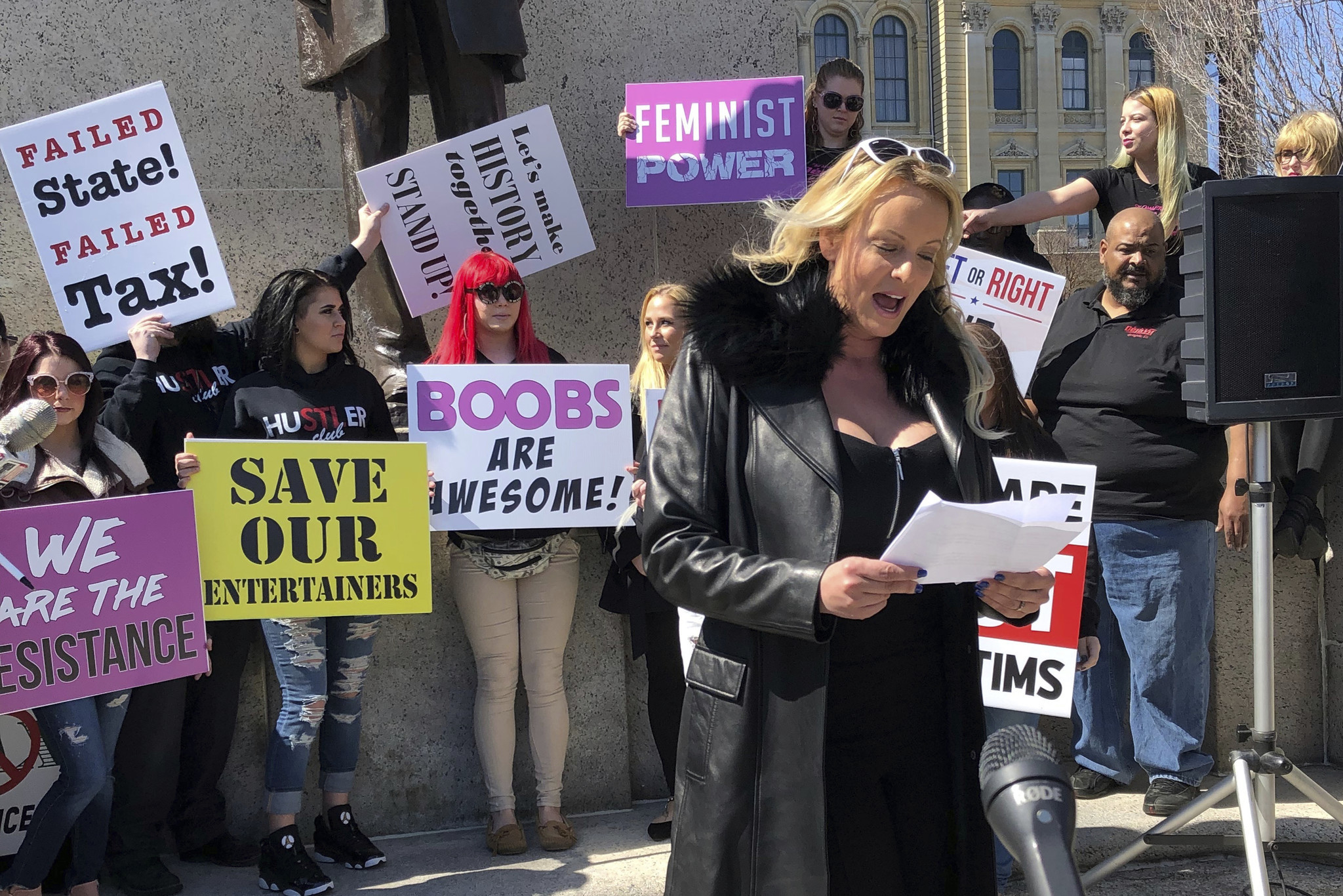 Stormy Daniels protests Illinois tax on strip clubs during ...
