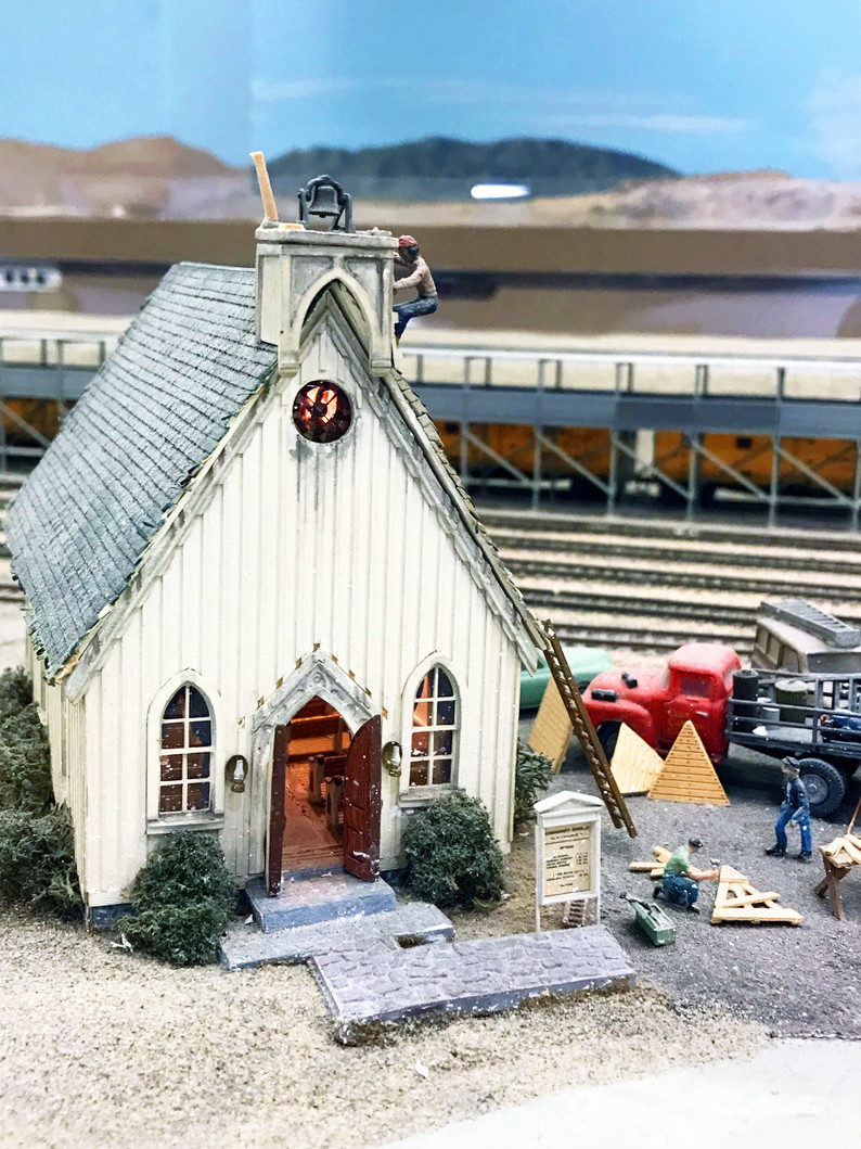 The incredibly detailed El Centro Church is part of a true-to-scale train layout at the San Diego Model Railroad Museum.