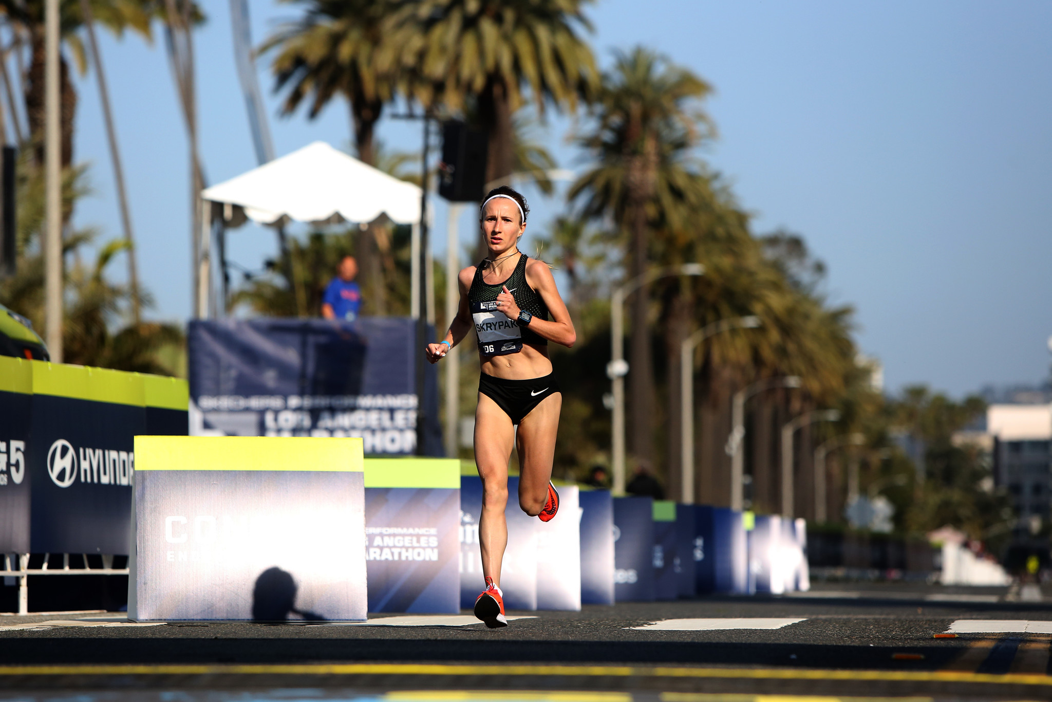 LOS ANGELES, CA-MARCH 24, 2019: Runner Olha Skrypak finishes in fourth place for female runners duri