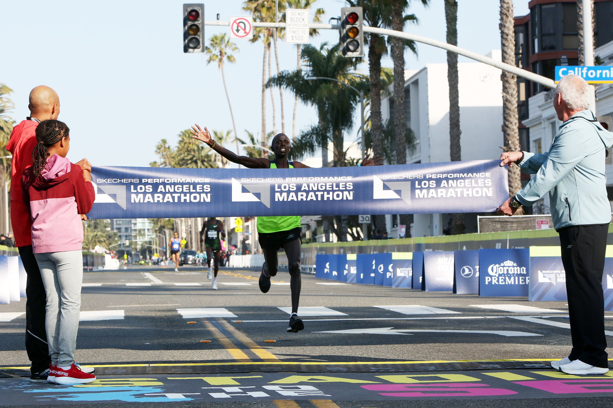 LOS ANGELES, CA-MARCH 24, 2019: Runner Elisha Barno comes in first during the Los Angeles Marathon o