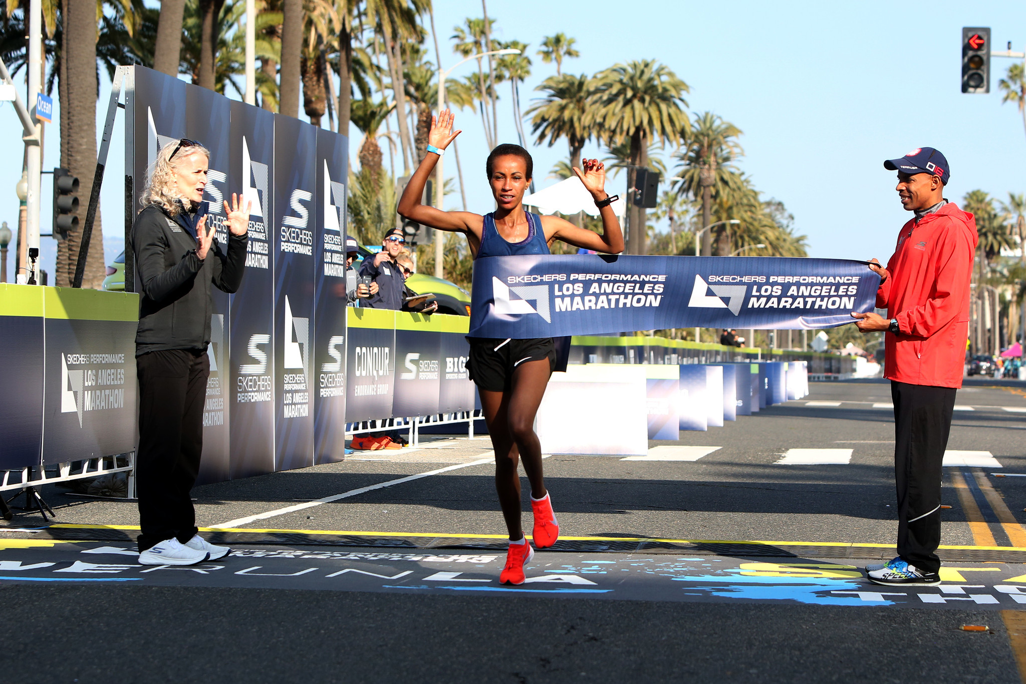 LOS ANGELES, CA-MARCH 24, 2019: Runner Askale Merachi comes in first place for the females during th