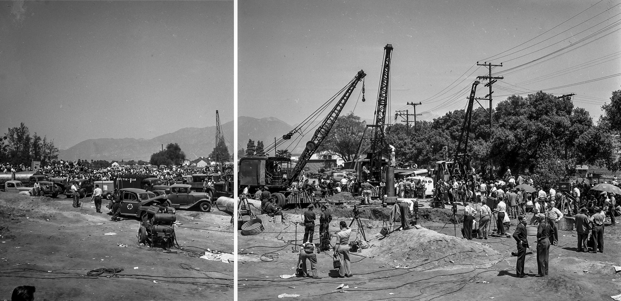 April 10, 1949: Panorama of rescue efforts in San Marino for Kathy Fiscus made from two different 4x