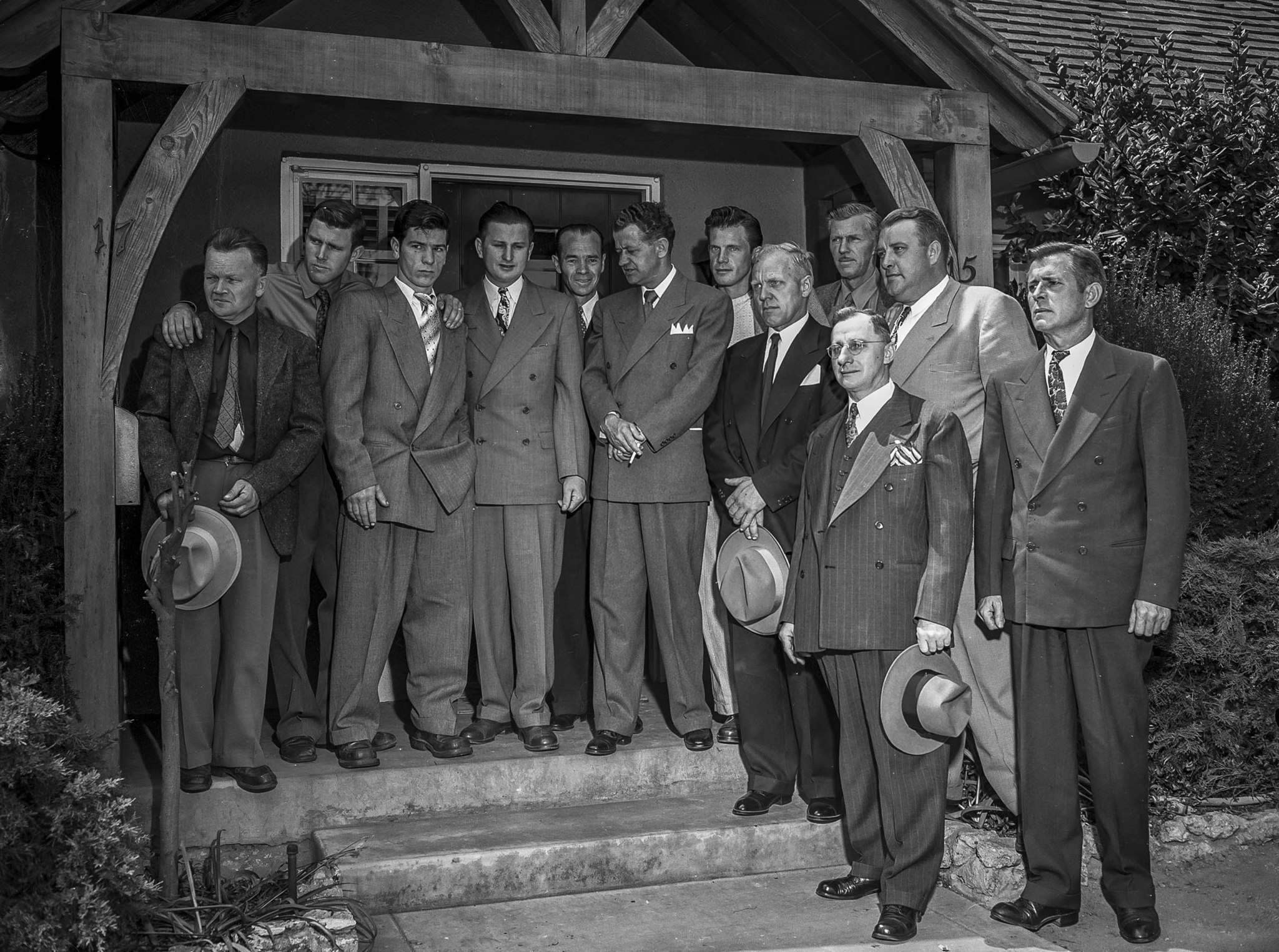 April 13, 1949: Some of the men who helped in the Kathy Fiscus rescue effort attend funeral for the