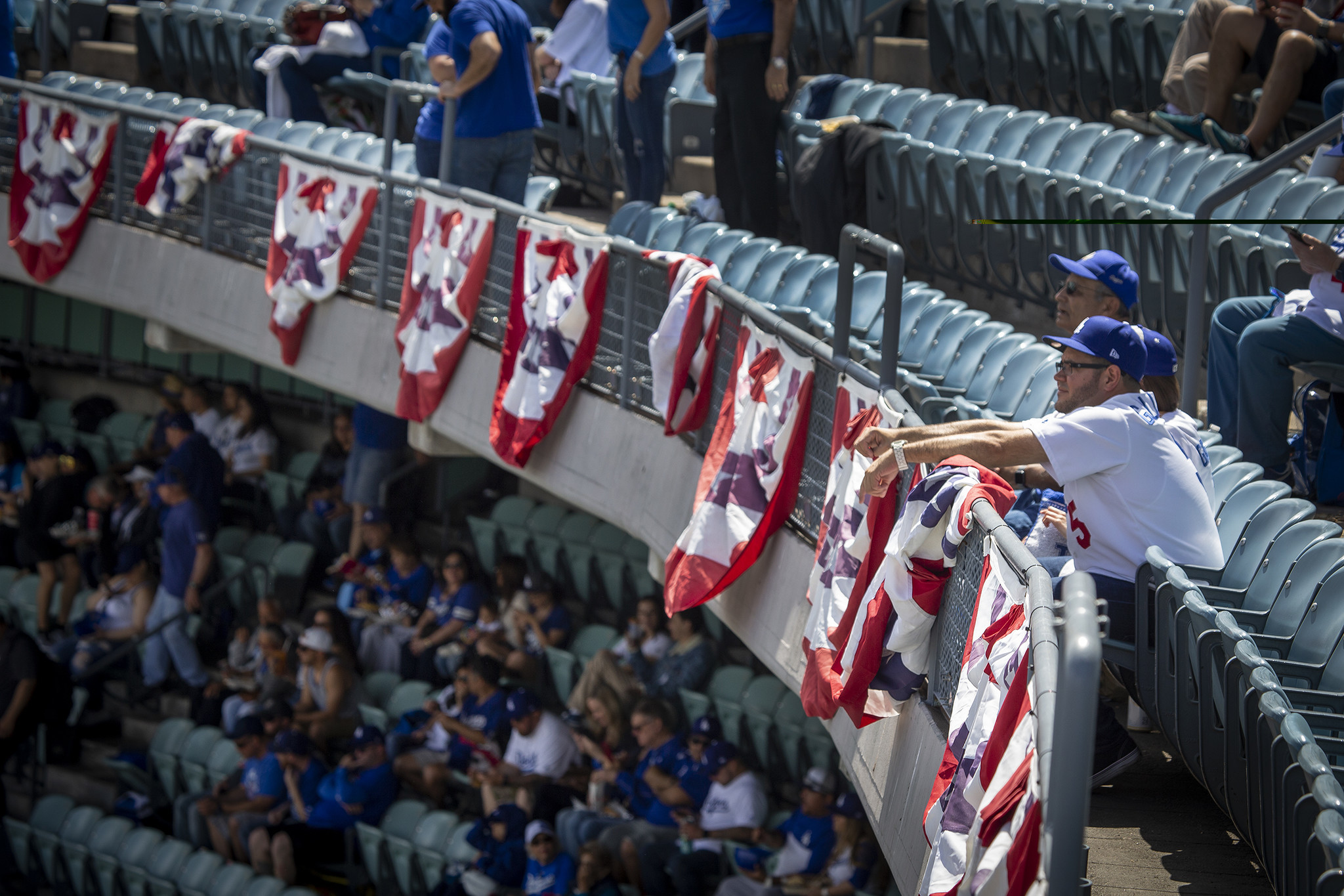 LOS ANGELES, CALIF. -- THURSDAY, MARCH 28, 2019: Dodgers fans celebrate Opening Day as the Dodgers p