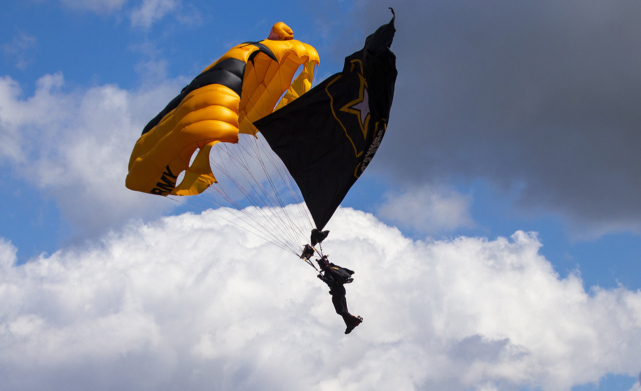 LOS ANGELES, CALIF. -- THURSDAY, MARCH 28, 2019: A member of the U.S. Army Golden Knights parachutes