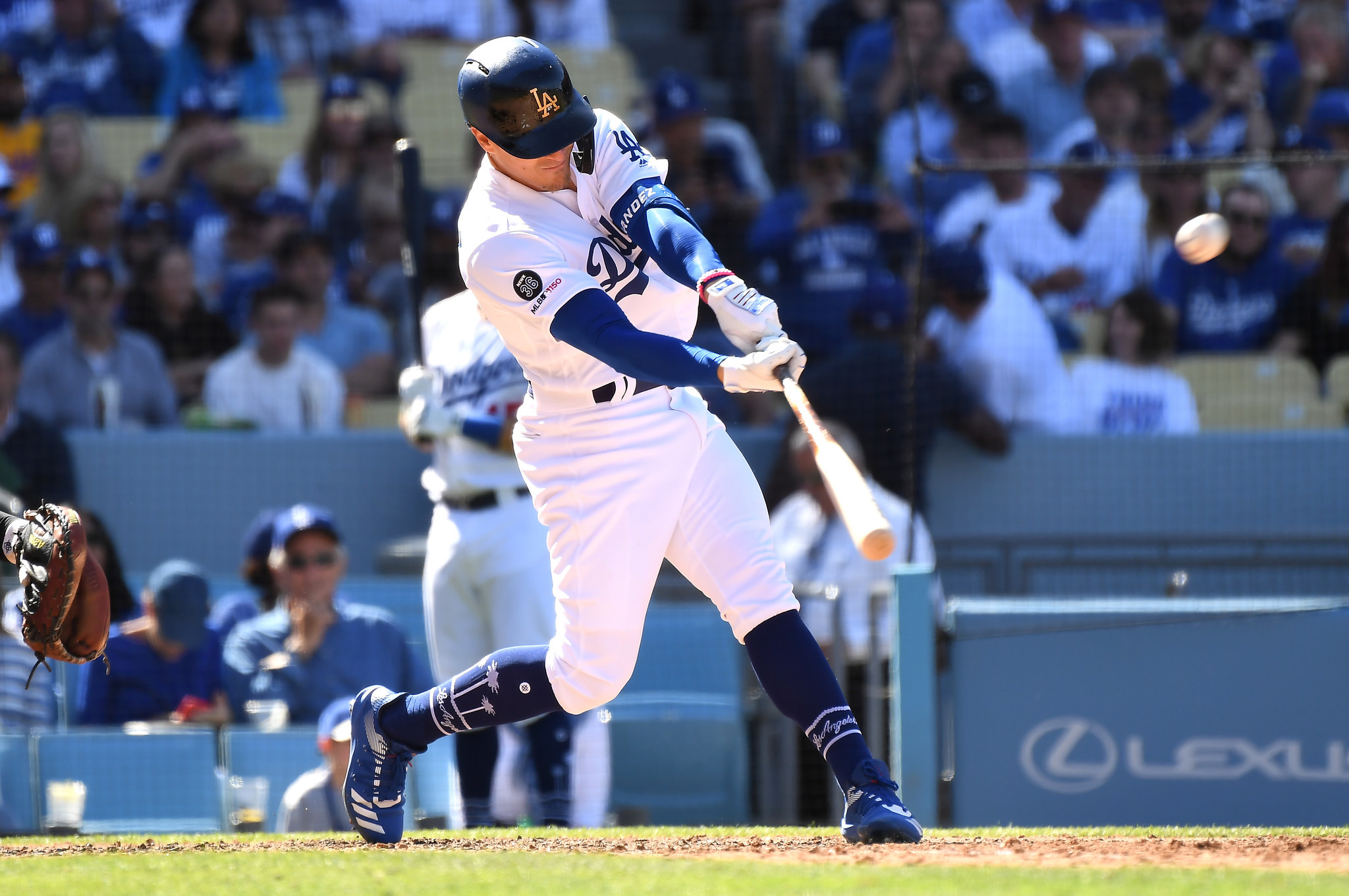 LOS ANGELES, CALIFORNIA MARCH 25, 2019-Dodgers Kiki Hernandez hits his second home run of the game a