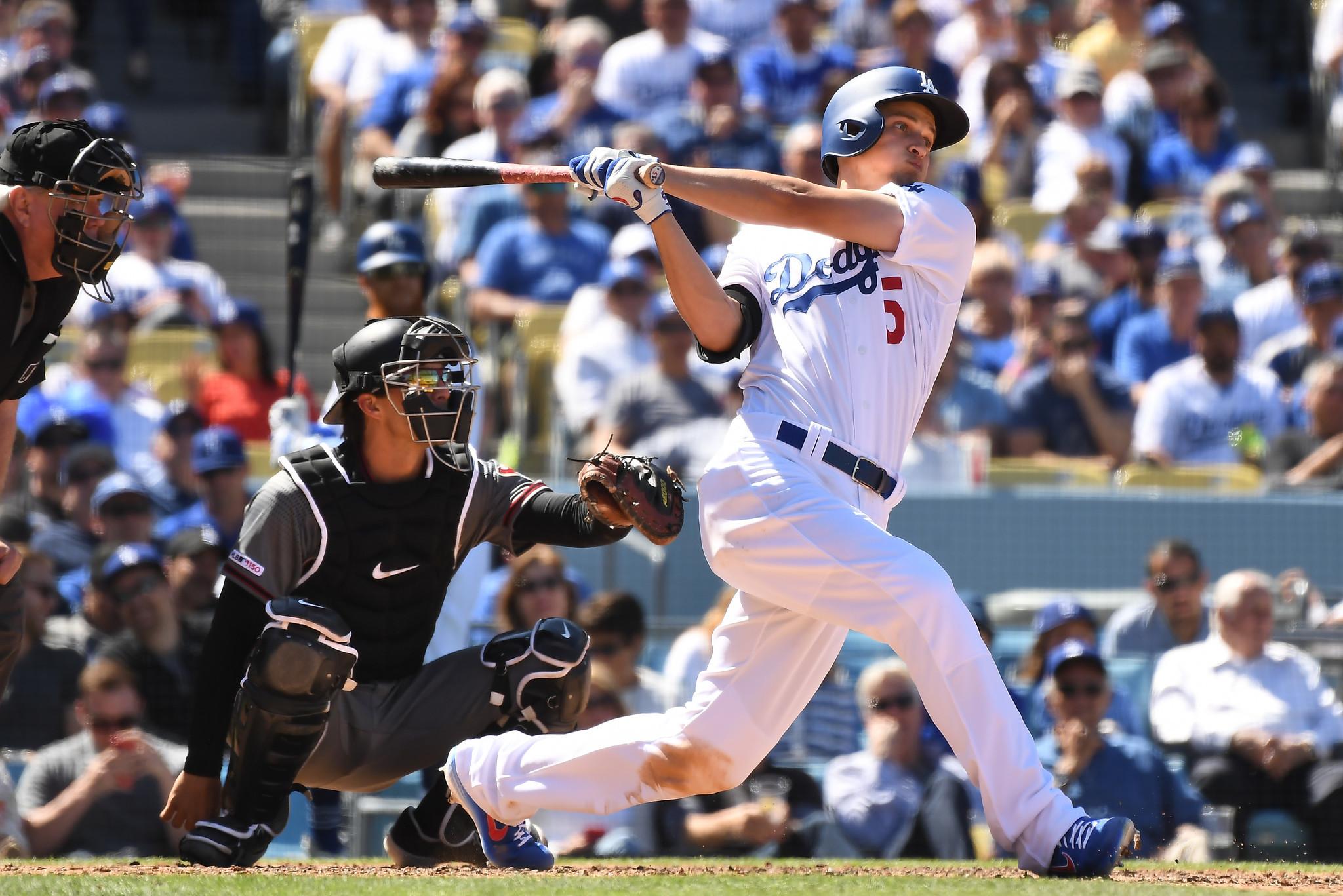 LOS ANGELES, CALIFORNIA MARCH 25, 2019-Dodgers Corey Seager hits a solo home run against Diamondback
