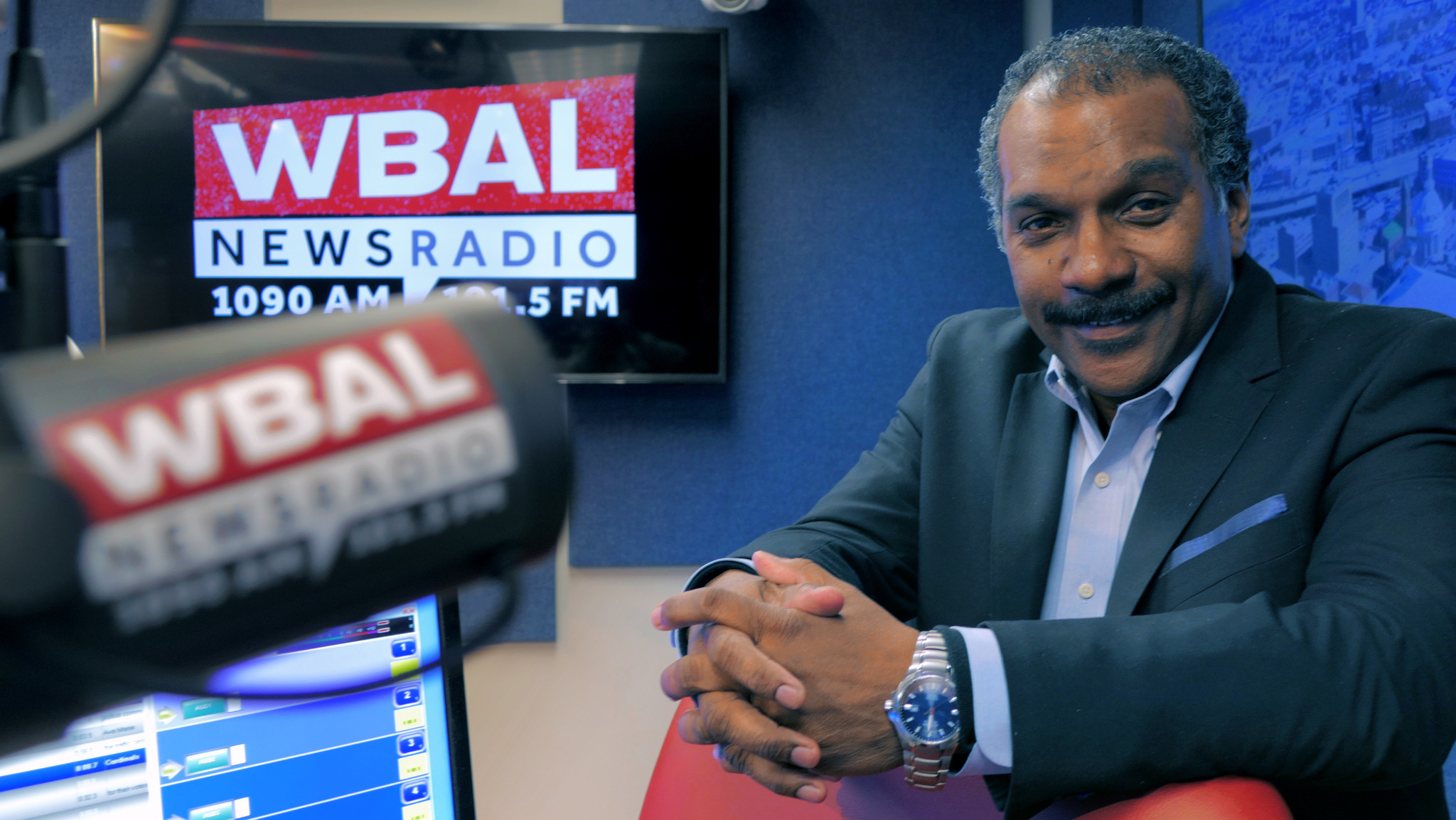 "Clarence Mitchell IV, known as ""C4,"" poses at WBAL radio studio Tue., March 12, 2019."