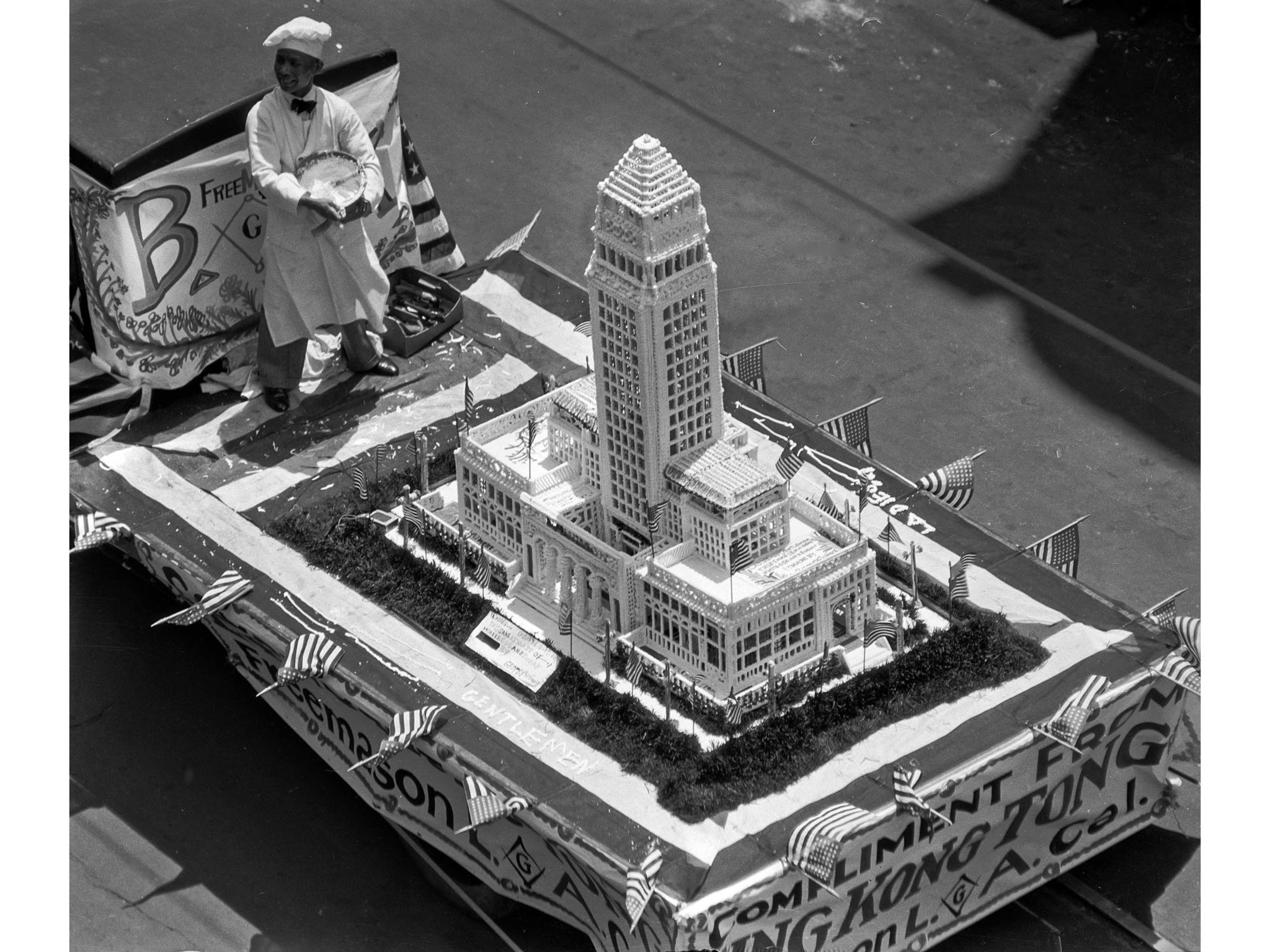 April 26, 1928: A giant cake in the shape of new Los Angeles City Hall was entered by Chinese reside