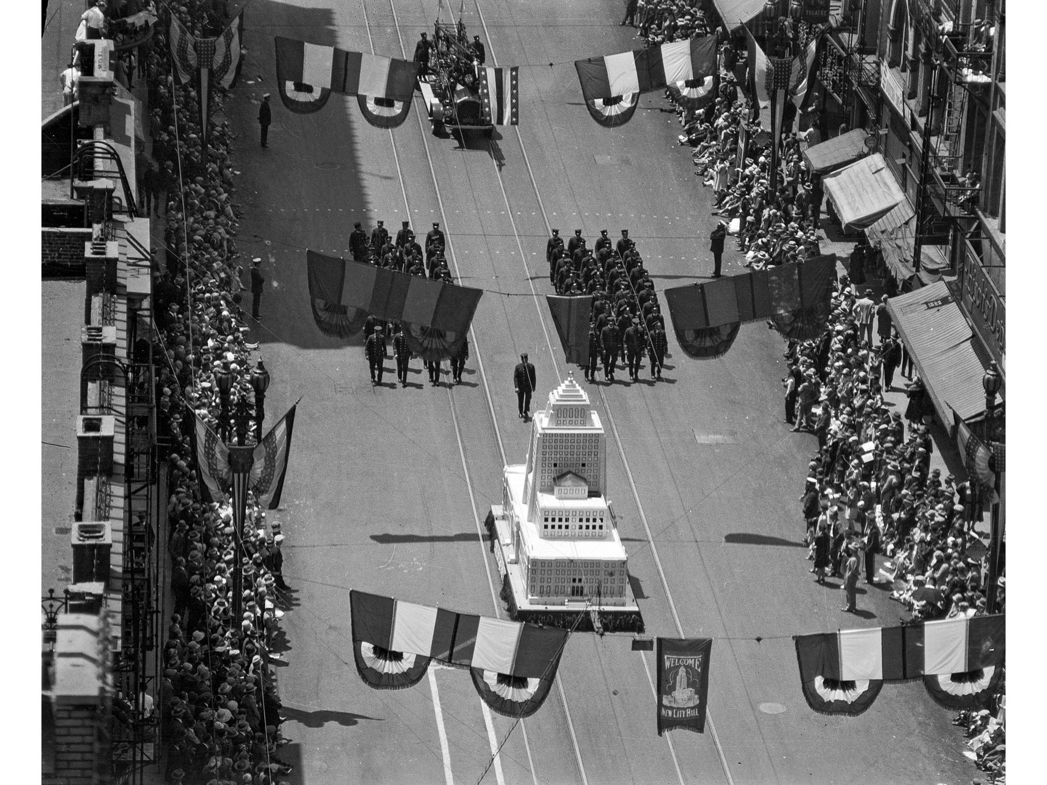April 26, 1928: Los Angeles Fire Department float featuring a replica of the city hall during dedica