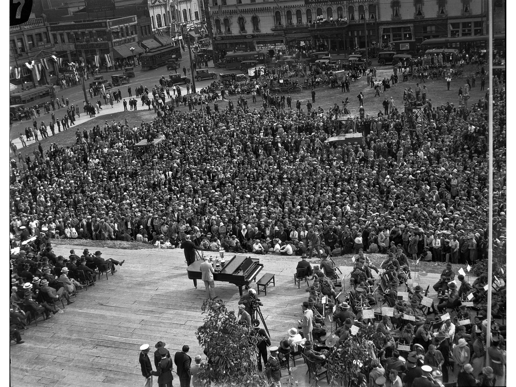 April 26, 1928: Stage and crowd at Los Angeles City Hall dedication ceremonies. In the left backgrou
