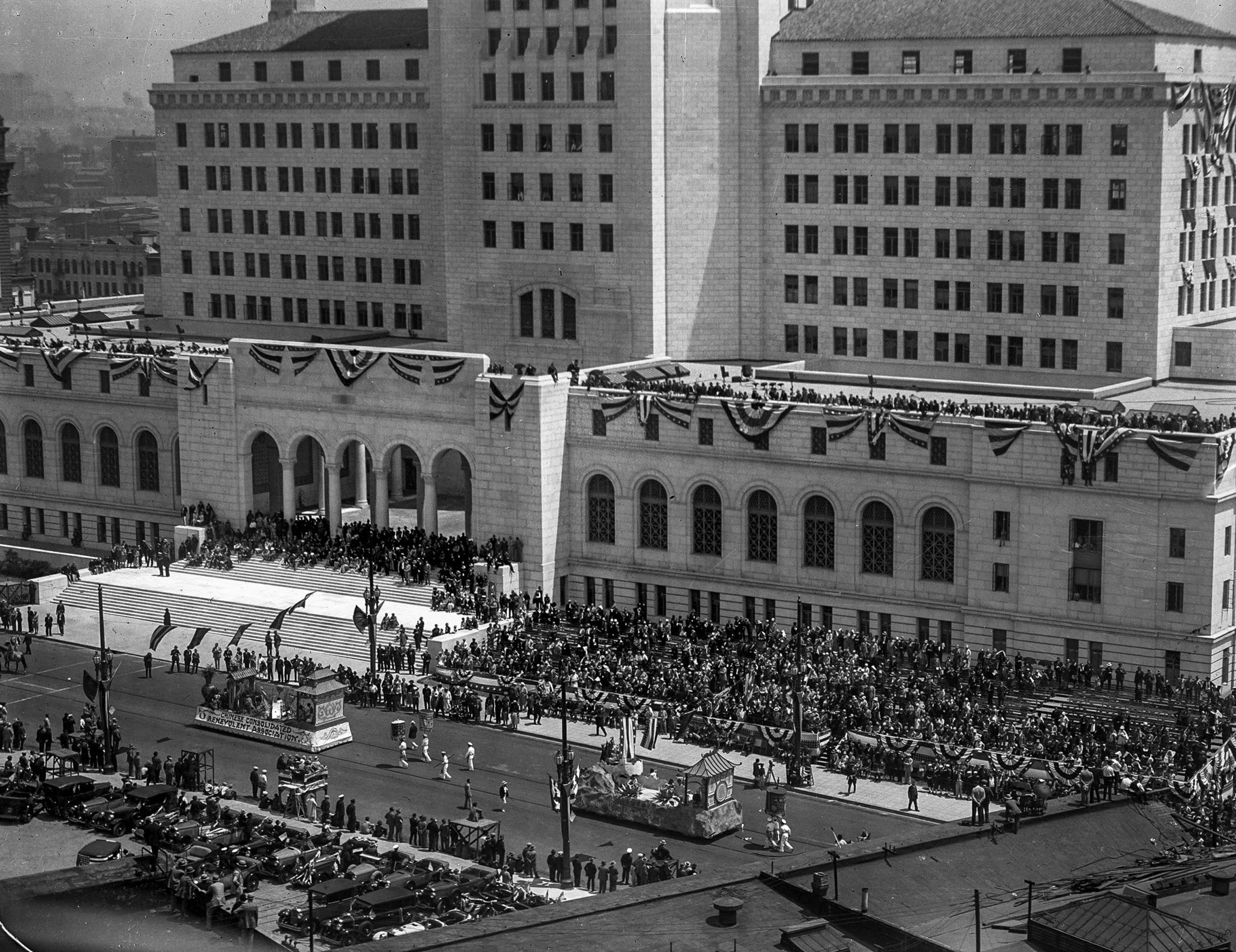 April 26, 1928: Parade on Spring St. during dedication of the new Los Angeles City Hall.
