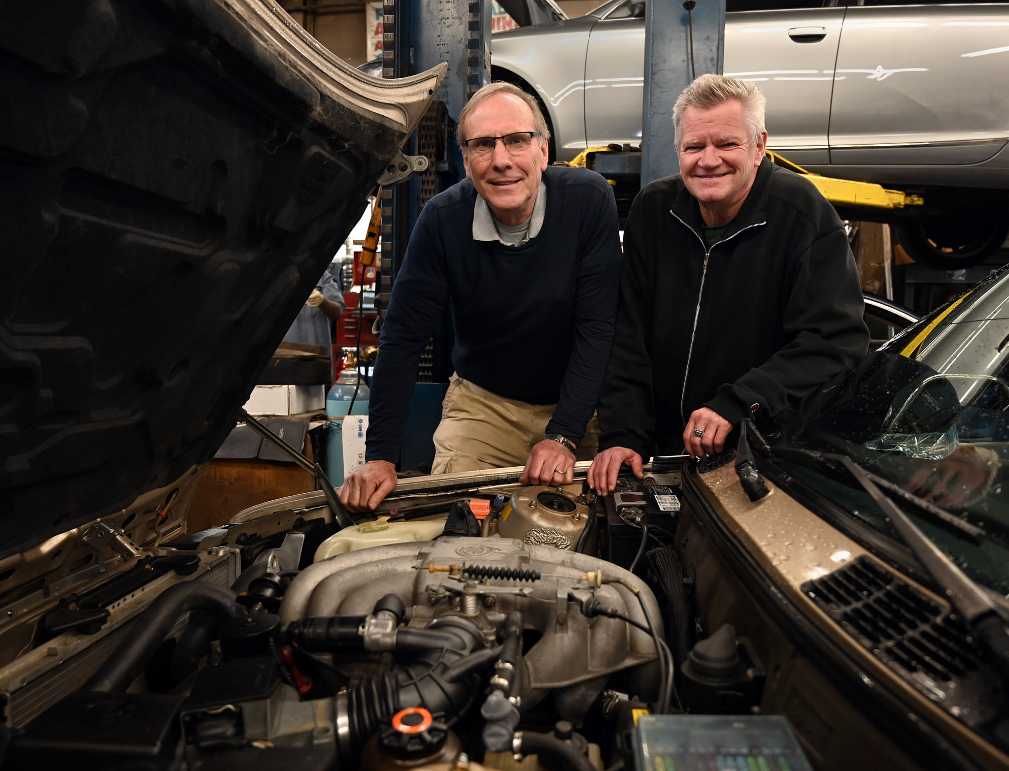 Dave Evans, left, is owner of Autobahn of Towson, and Frank Doty, right, is manager. The business h