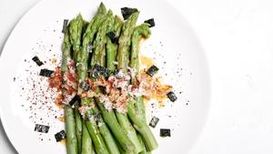 Steamed Asparagus with Tangerine Ponzu, Daikon, and Nori