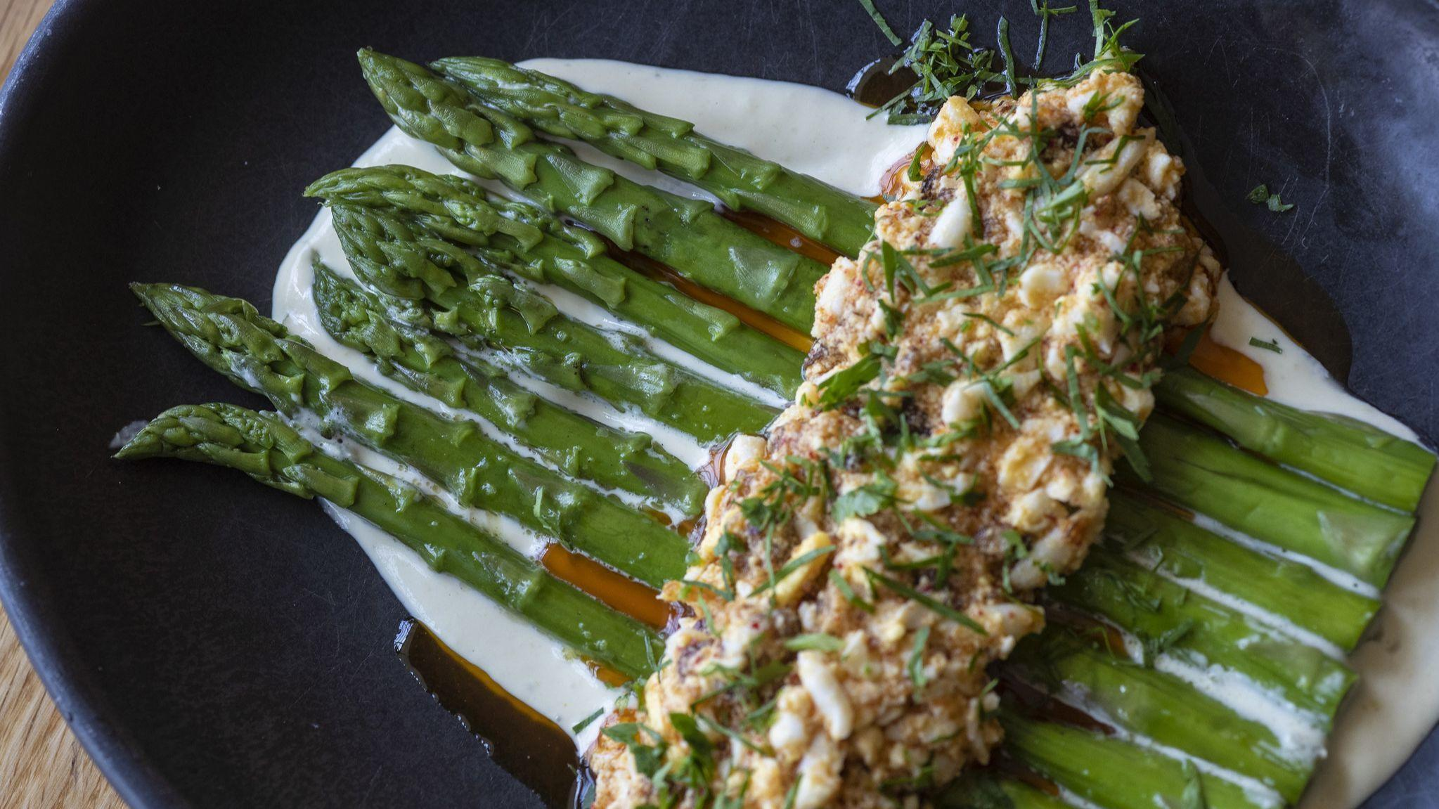 Chilled Asparagus with Green Garlic Mayonnaise and Dijon Egg Salad