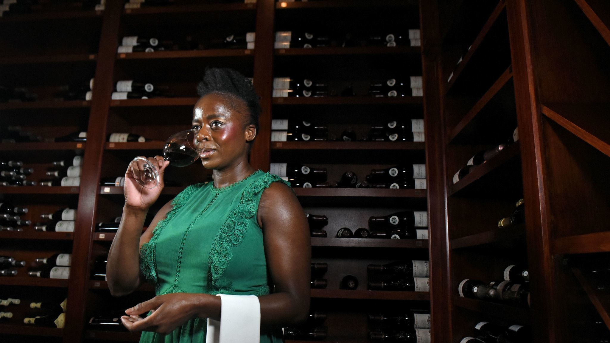 Baltimore, Md--2/6/19--Linah Mathabane-Pool, the sommelier at Charleston, in The Wine Library. Kim