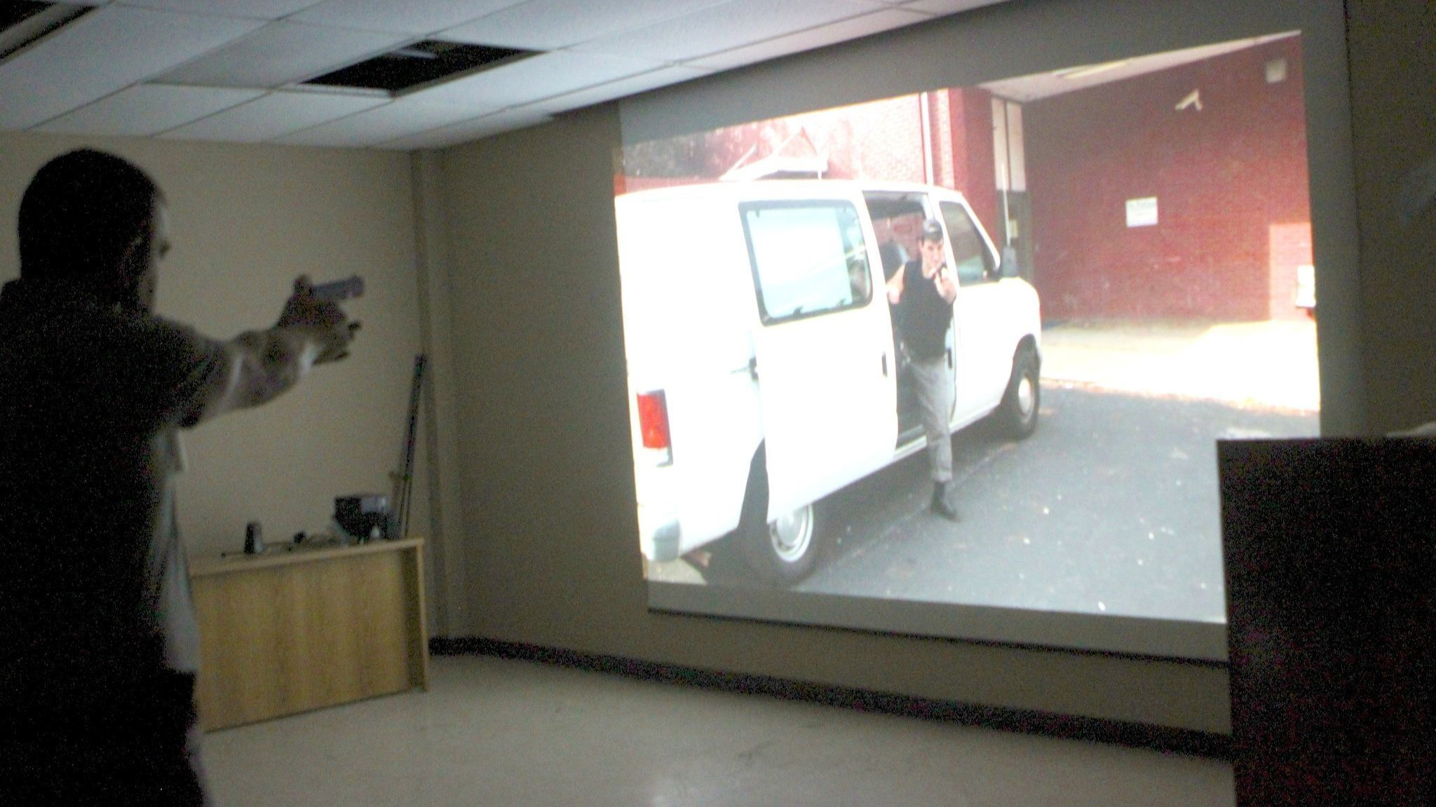 Inside SDPD enrollees make split-second decisions about the use of force during video simulations.