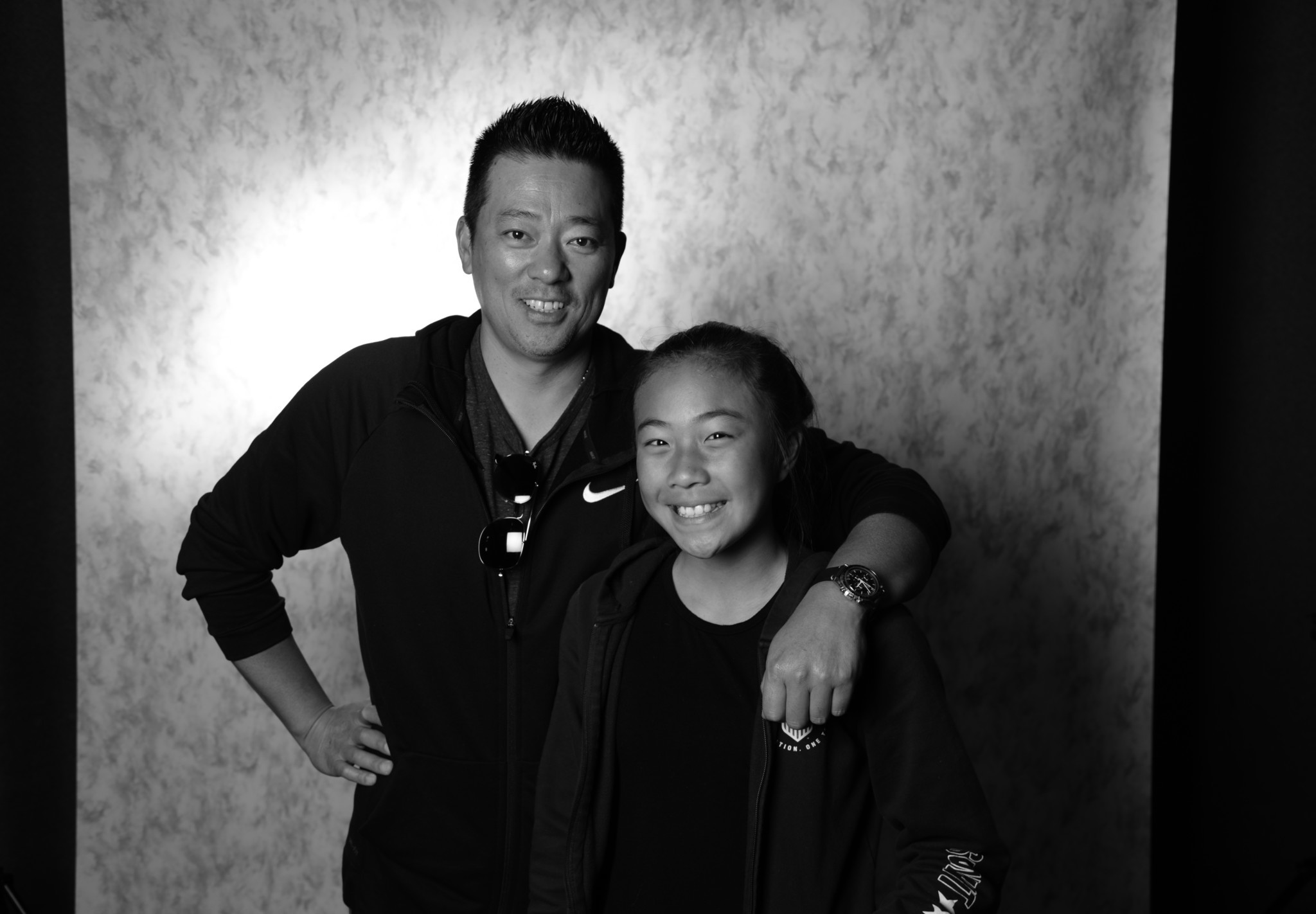 James Shin with his daughter, Fiona Shin, 12