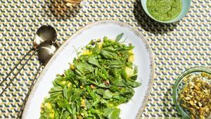 The Exchange's Spring Pea Salad with Pistachio Pipian