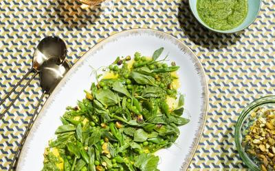 The Exchange's Spring Pea Salad with Pistachio Pipian