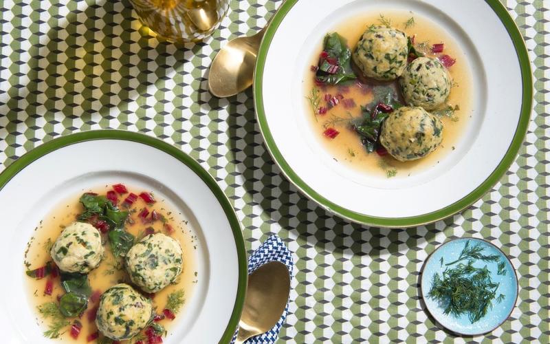 Kismet's Chard and Leek Matzo Ball Soup