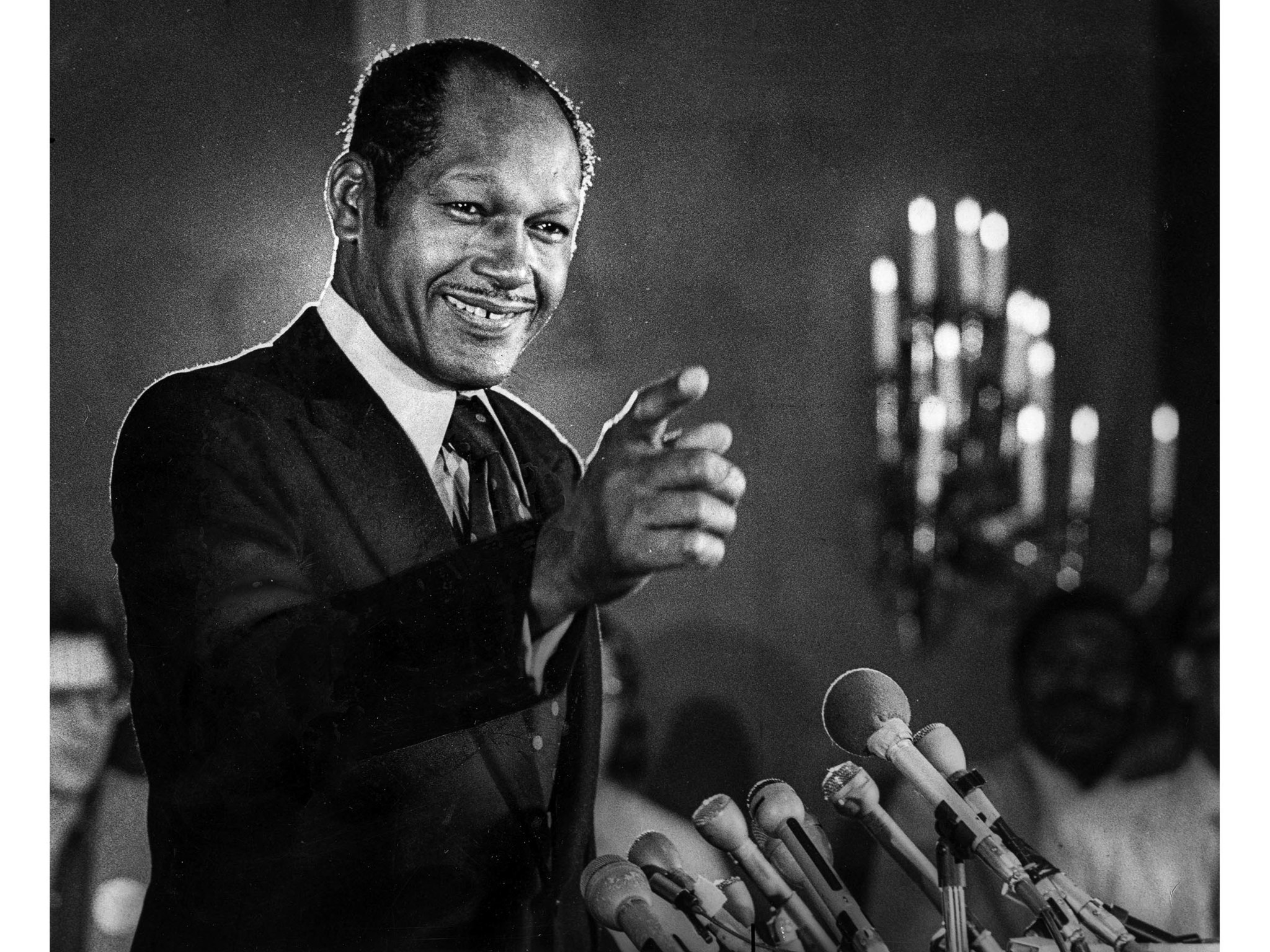 May 30, 1973: A beaming Tom Bradley takes a question at a news conference on day after his trumph of