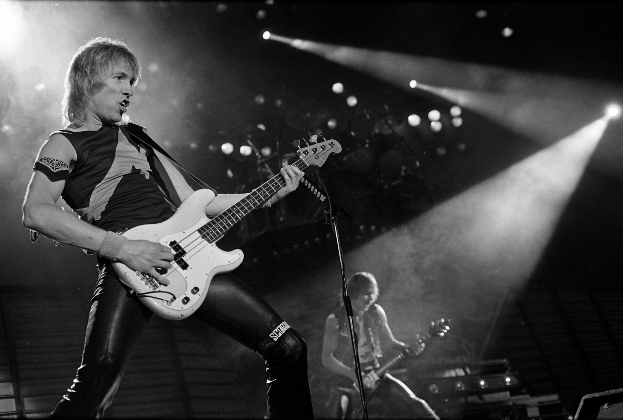 April 24, 1984: The Scorpions' bass player Francis Buchholz during concert at the Forum. This image