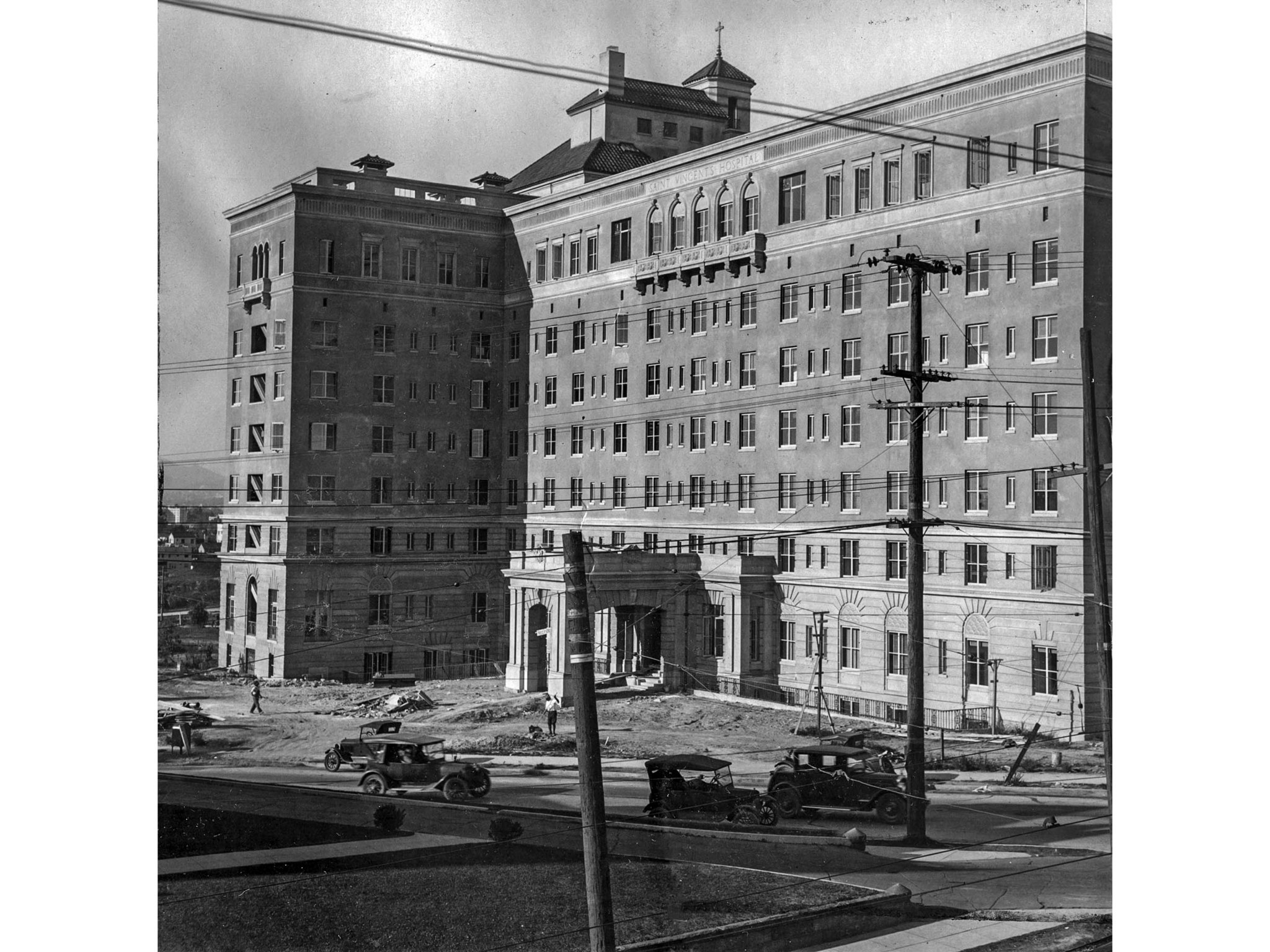 Nov. 1927: The new St. Vincent Hospital at Alvarado St. and 3rd St. in Los Angeles. This photo appea