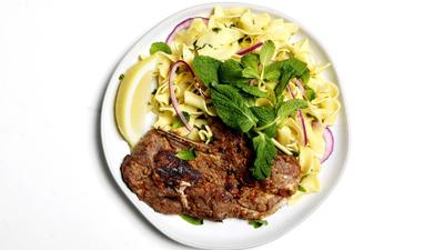 Anchovy-Marinated Lamb Shoulder Chops With Minty Noodles