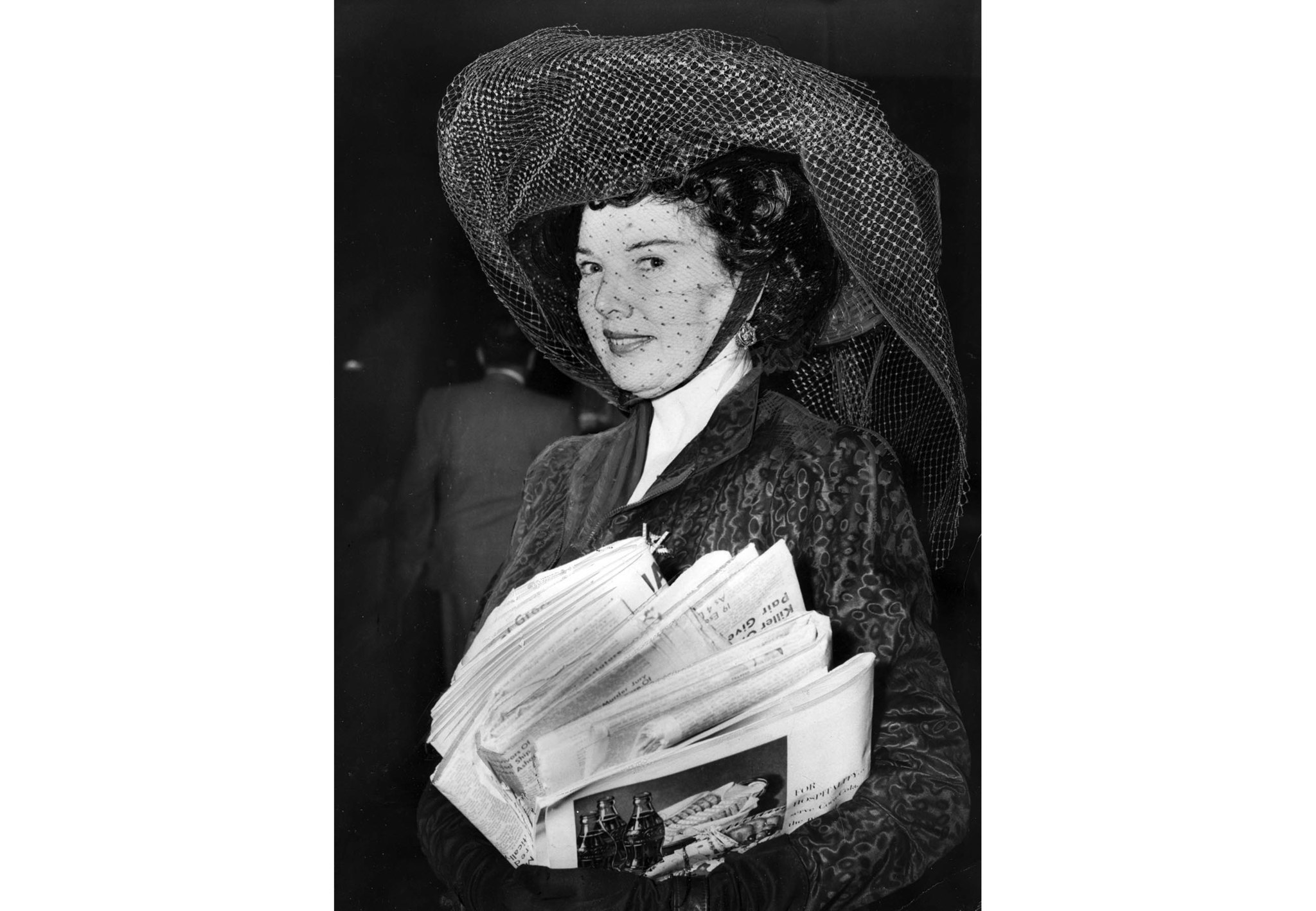 Sept. 28, 1950: Dolores Gunn, 50, wearing a big black hat to court, denies morals charge against her