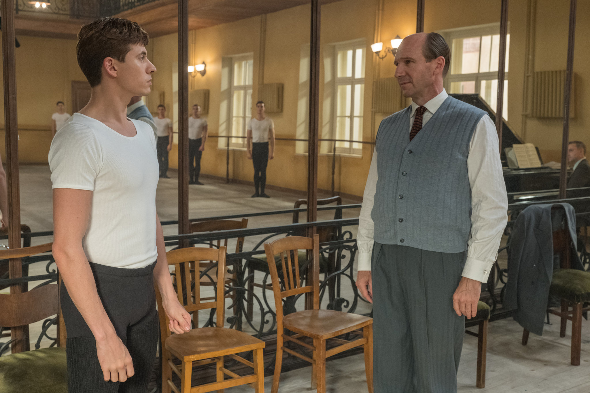 """Oleg Ivenko, left, as Rudolf Nureyev and Ralph Fiennes as Alexander Pushkin in a scene from """"The White Crow."""""""
