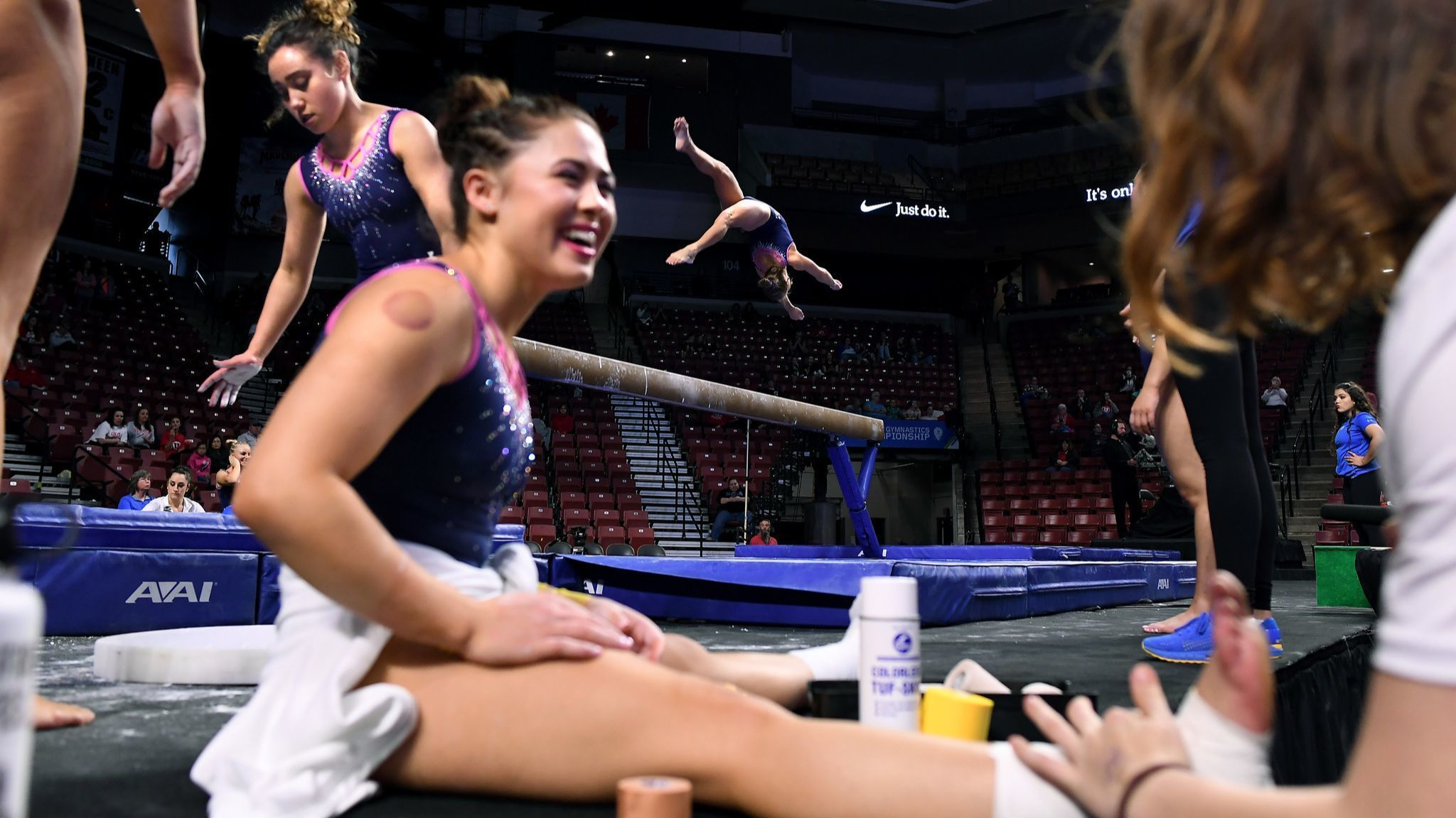 UCLA gymnasts prepare before the PAC-12 Championships in Salt Lake City.