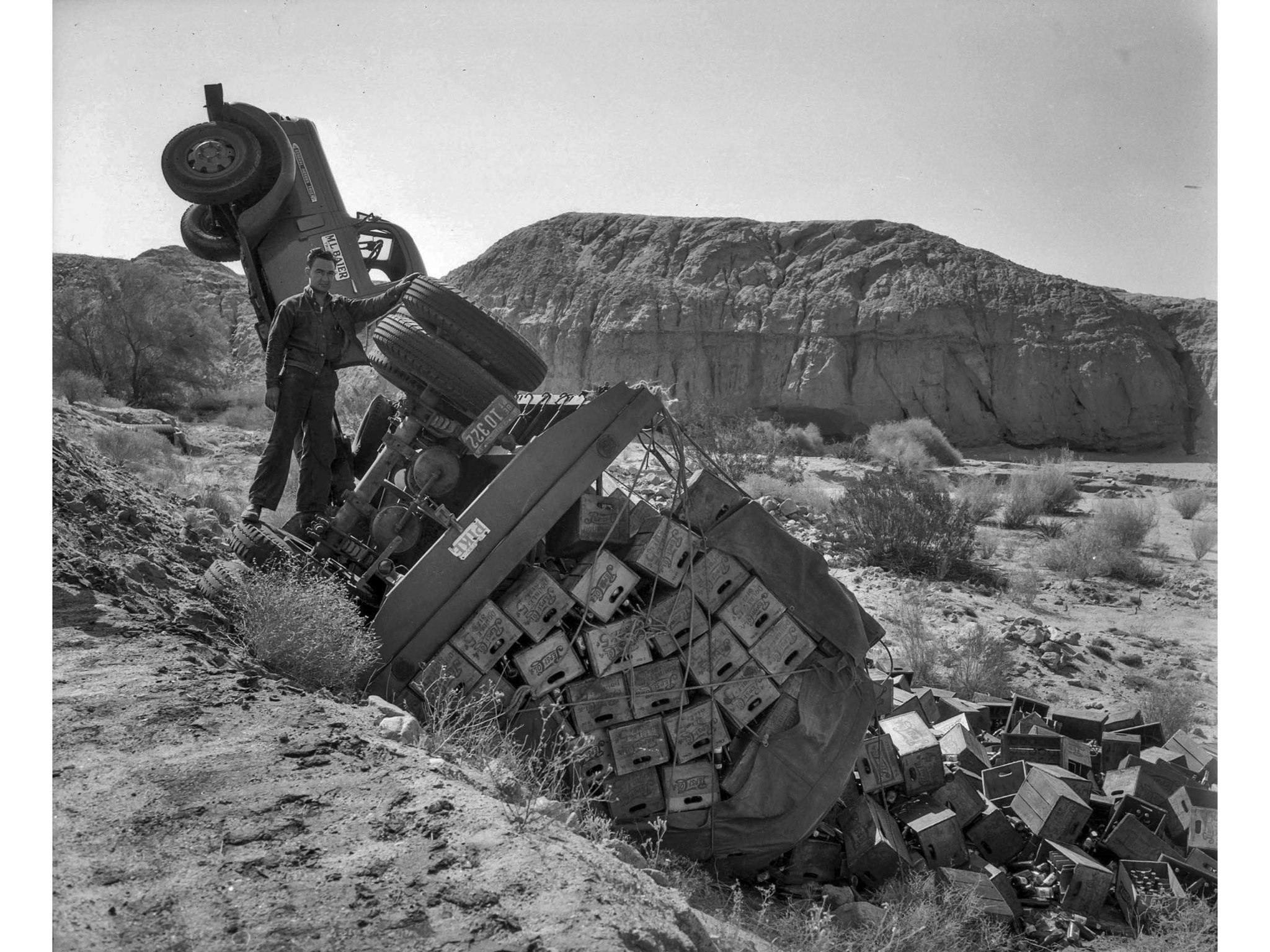 June 6, 1943: An overturned Army truck