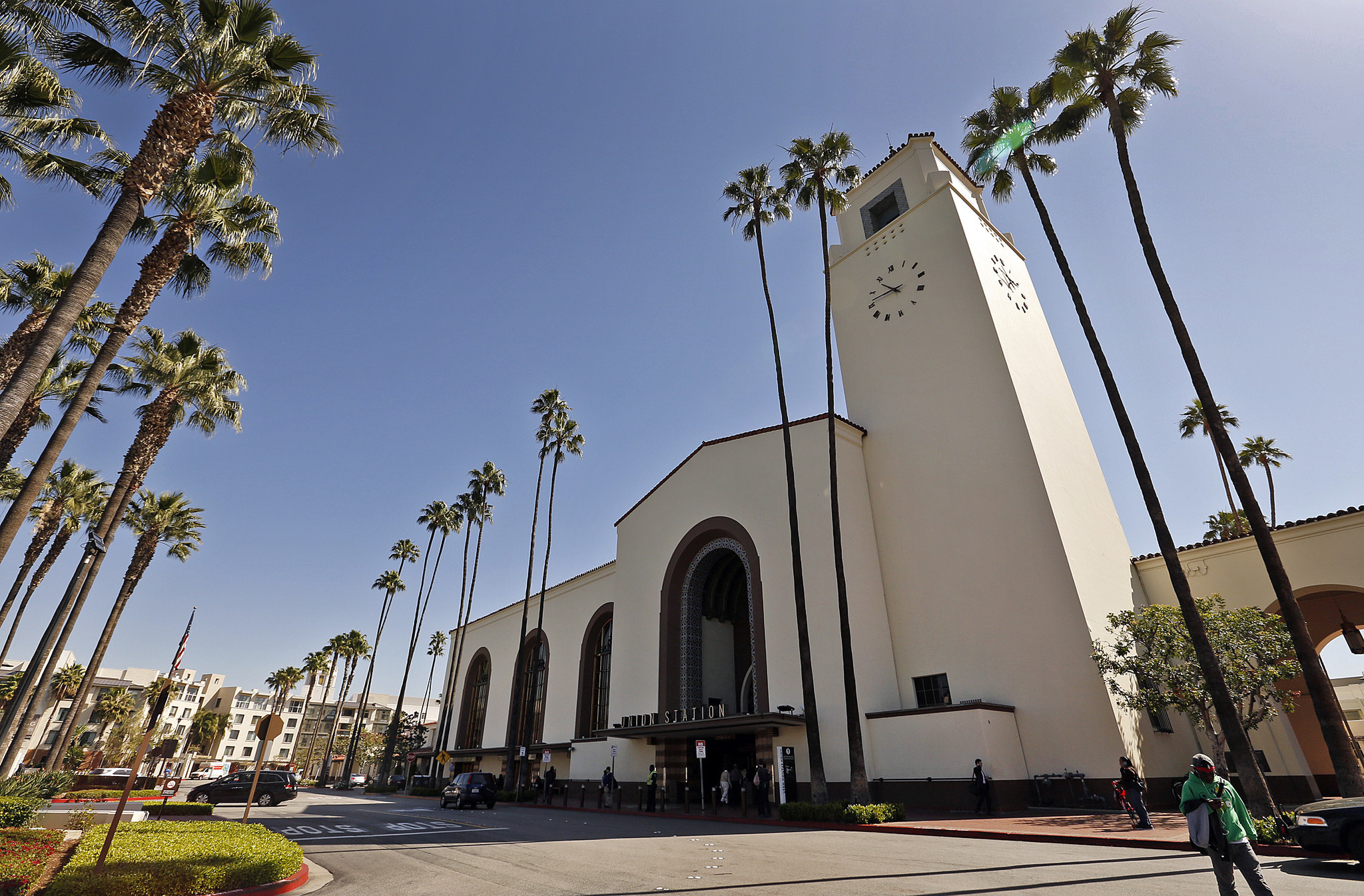 LOS ANGELES, CA - MARCH 31, 2016 - Passengers pass through the historic Union Station opened in May