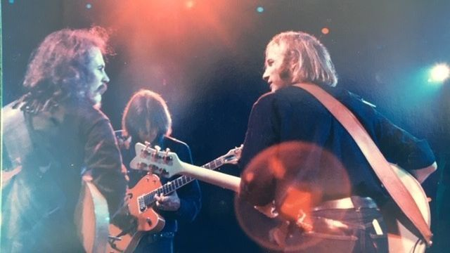 Sachse snapped this shot of David Crosby, Neil Young and Stephen Stills in concert while working as their official photographer in 1969.