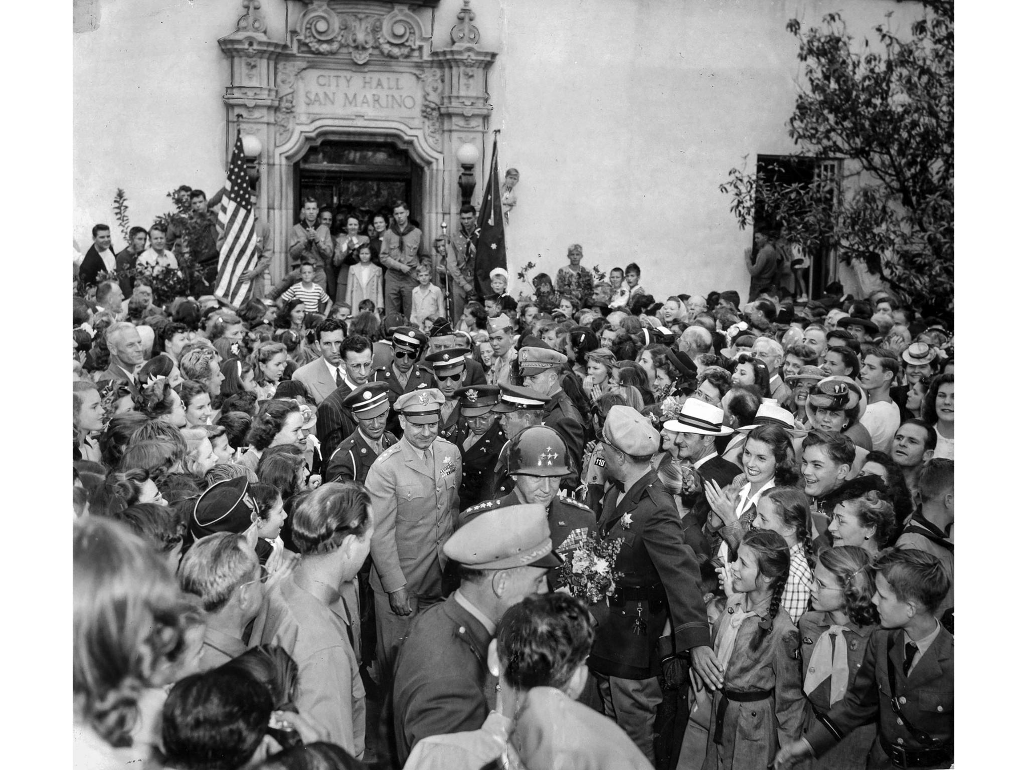 June 10, 1945: Gen. George s. Patton Jr., leads Lt. Gen. James Doolittle out of San Marino City Hall