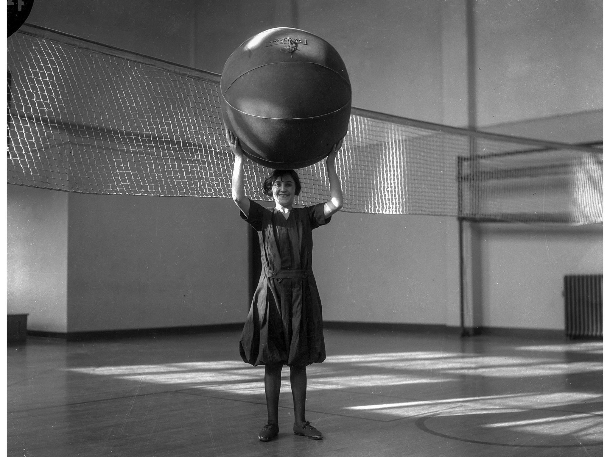 Feb. 16, 1926: Charlotte Young plays cage ball at the Y.W.C.A., Los Angeles, 1926. Cage ball has bee