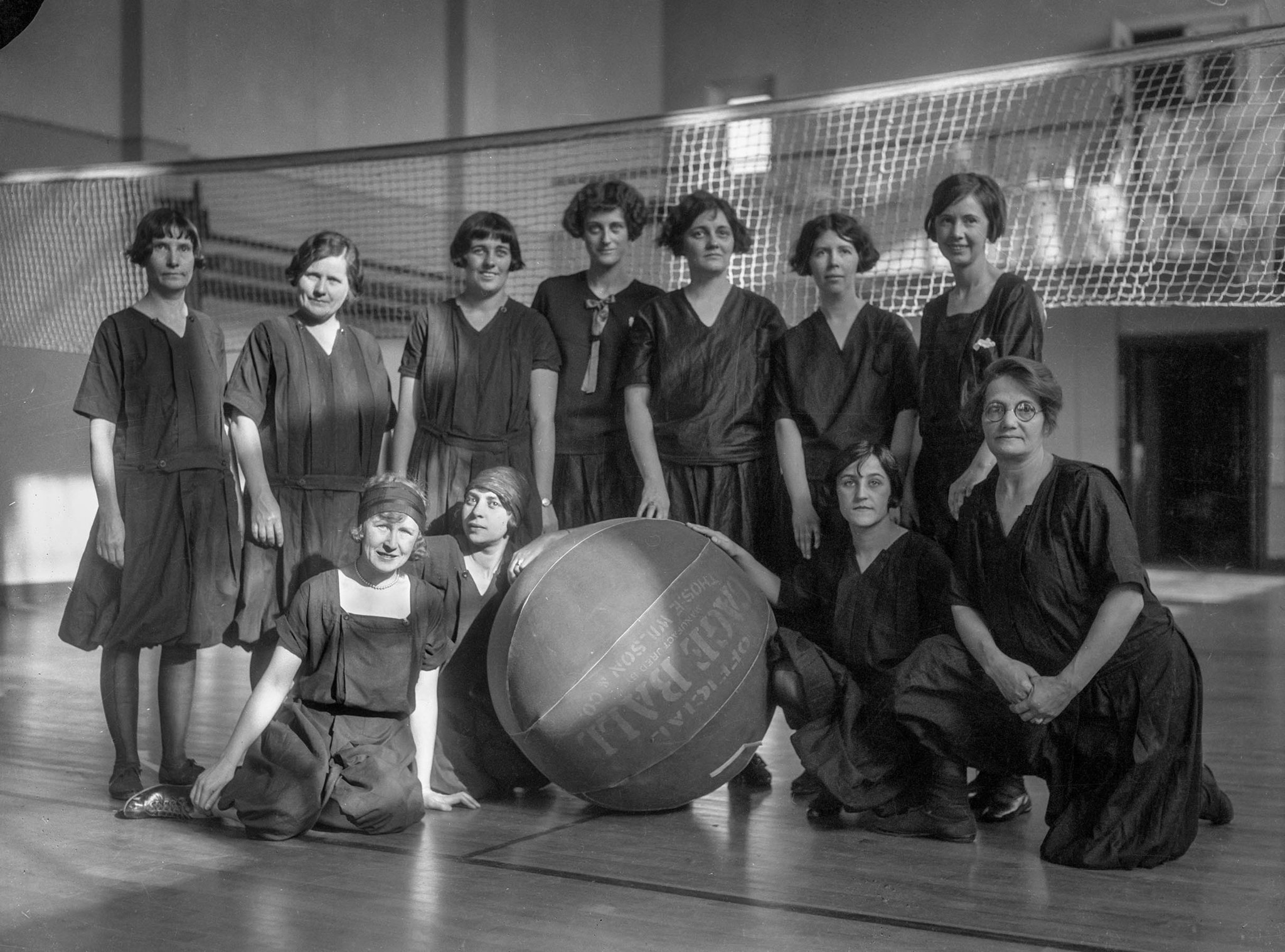 Feb. 16, 1926: A group of cage ball players at the Y.W.C.A., Los Angeles, 1926. This image is from t