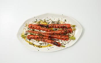Grilled Spring Carrots with Fresh Za'atar and Tahini Labneh