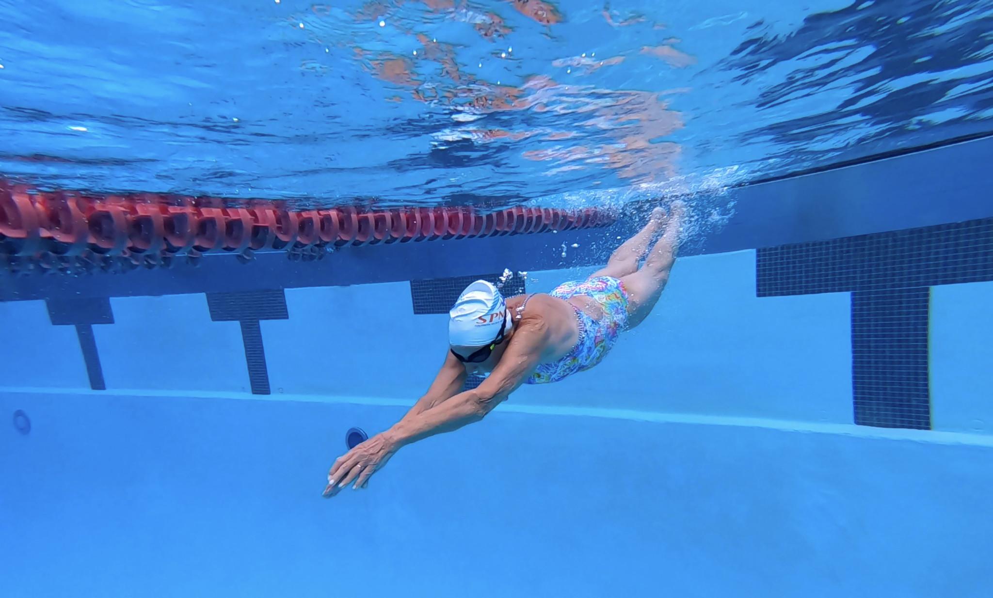 PASADENA, CA May 6, 2019: Maurine Kornfeld, 97, working out at the Rose Bowl Aquatics Center in Pa